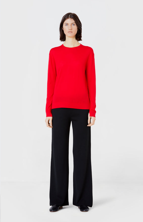 Classic Merino Round Neck Jumper in Red