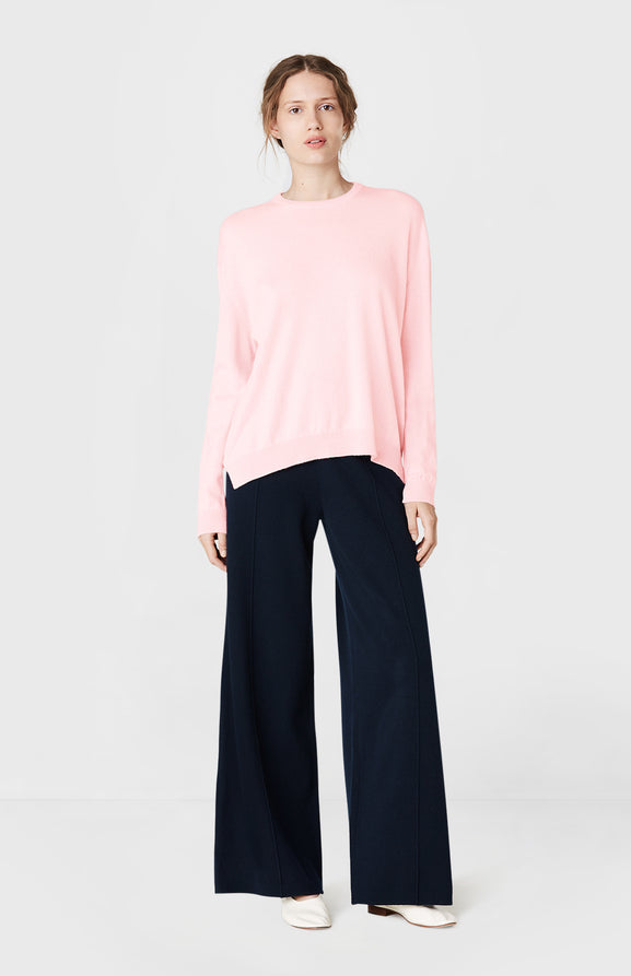 Round Neck Cashmere Jumper in Pink Mix