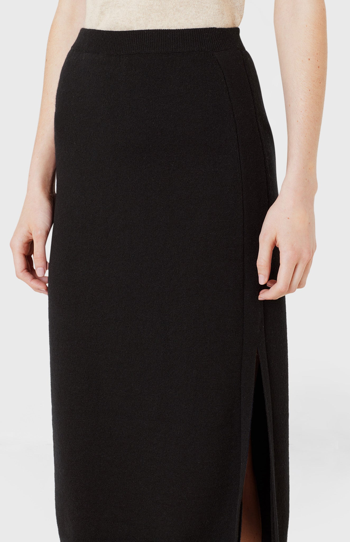 Long Cashmere Skirt in Black