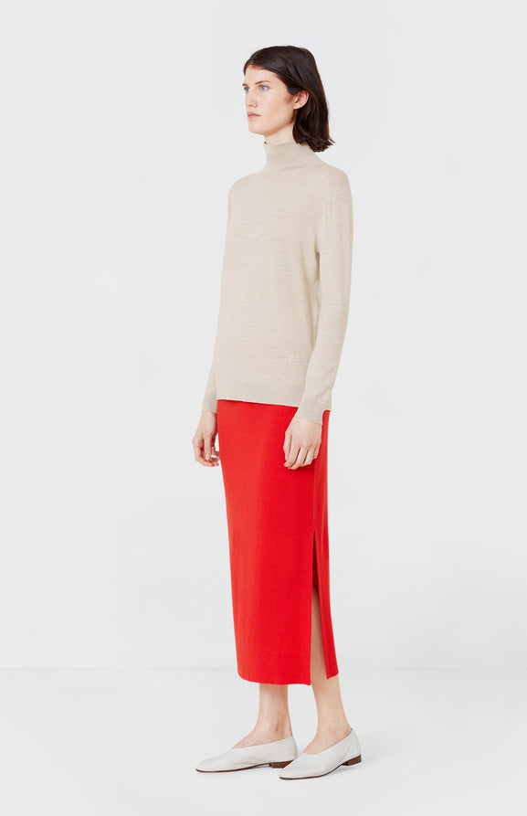Long Merino Skirt in Red