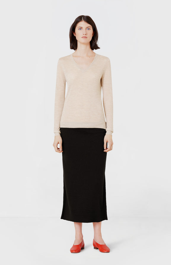 Lightweight V-neck Cashmere Jumper in Light Beige Melange
