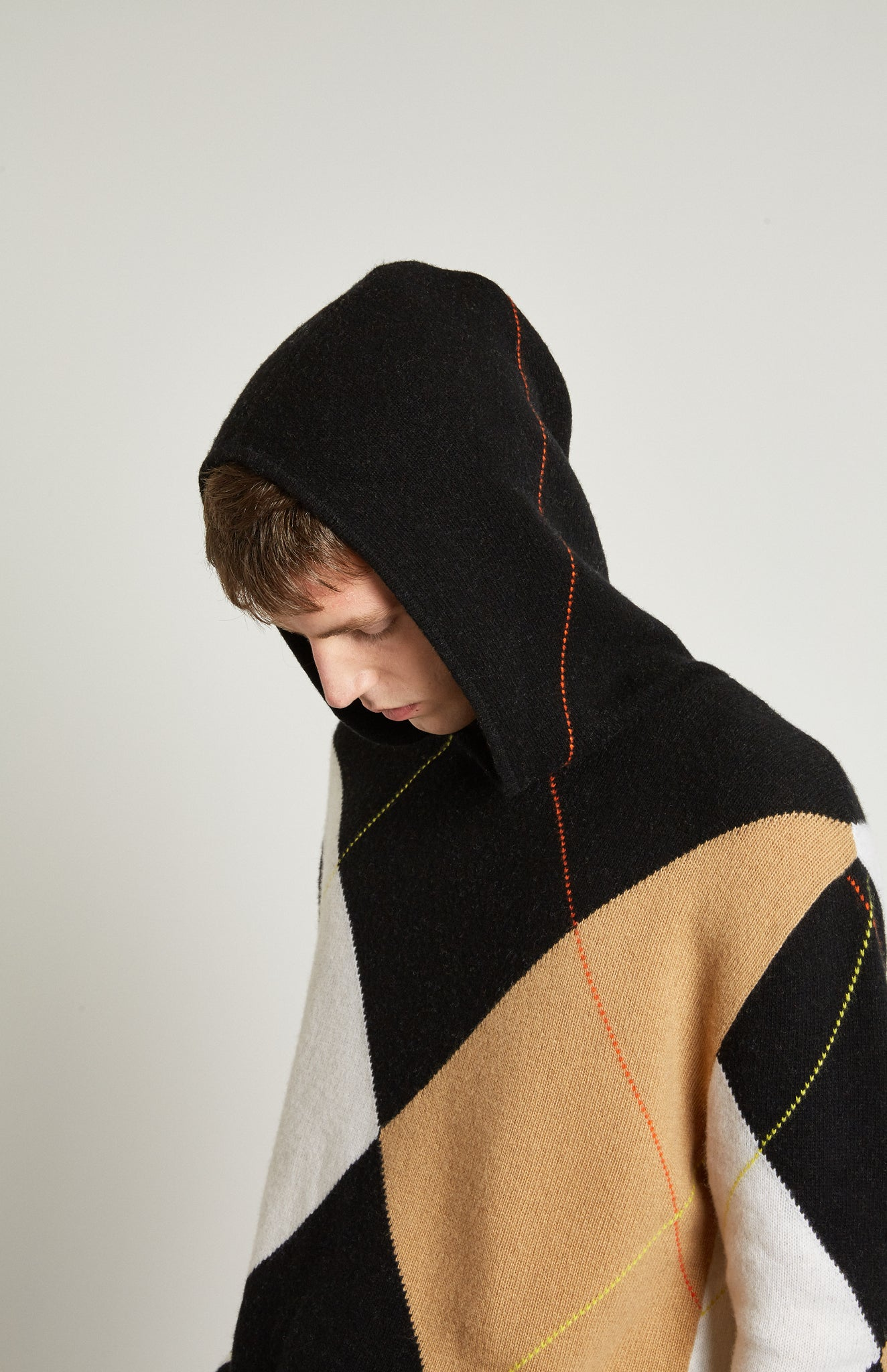 Pringle Reissued Unisex Grand Argyle Hoodie on male model