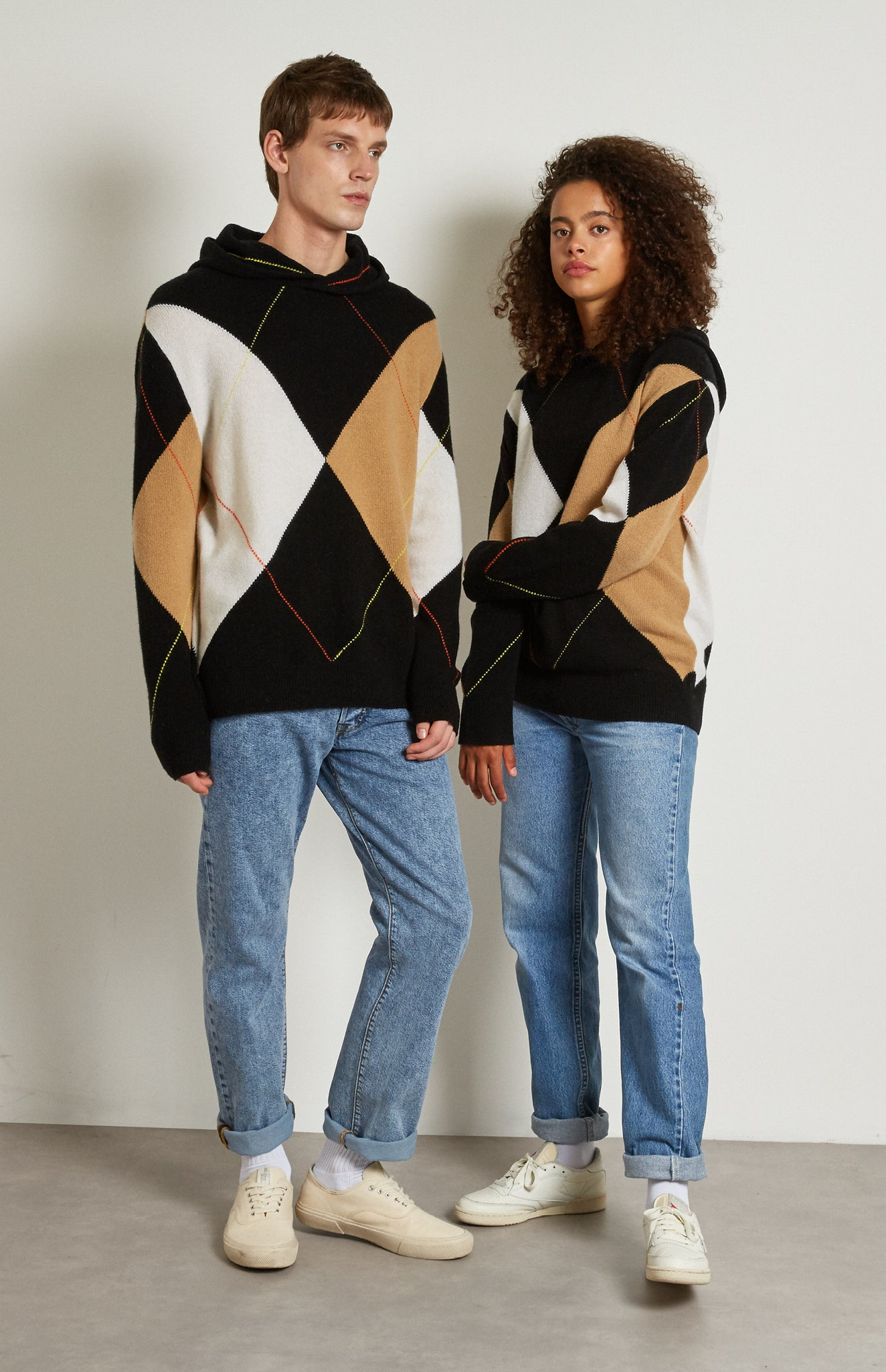 Pringle Reissued Unisex Grand Argyle Hoodie on male and female