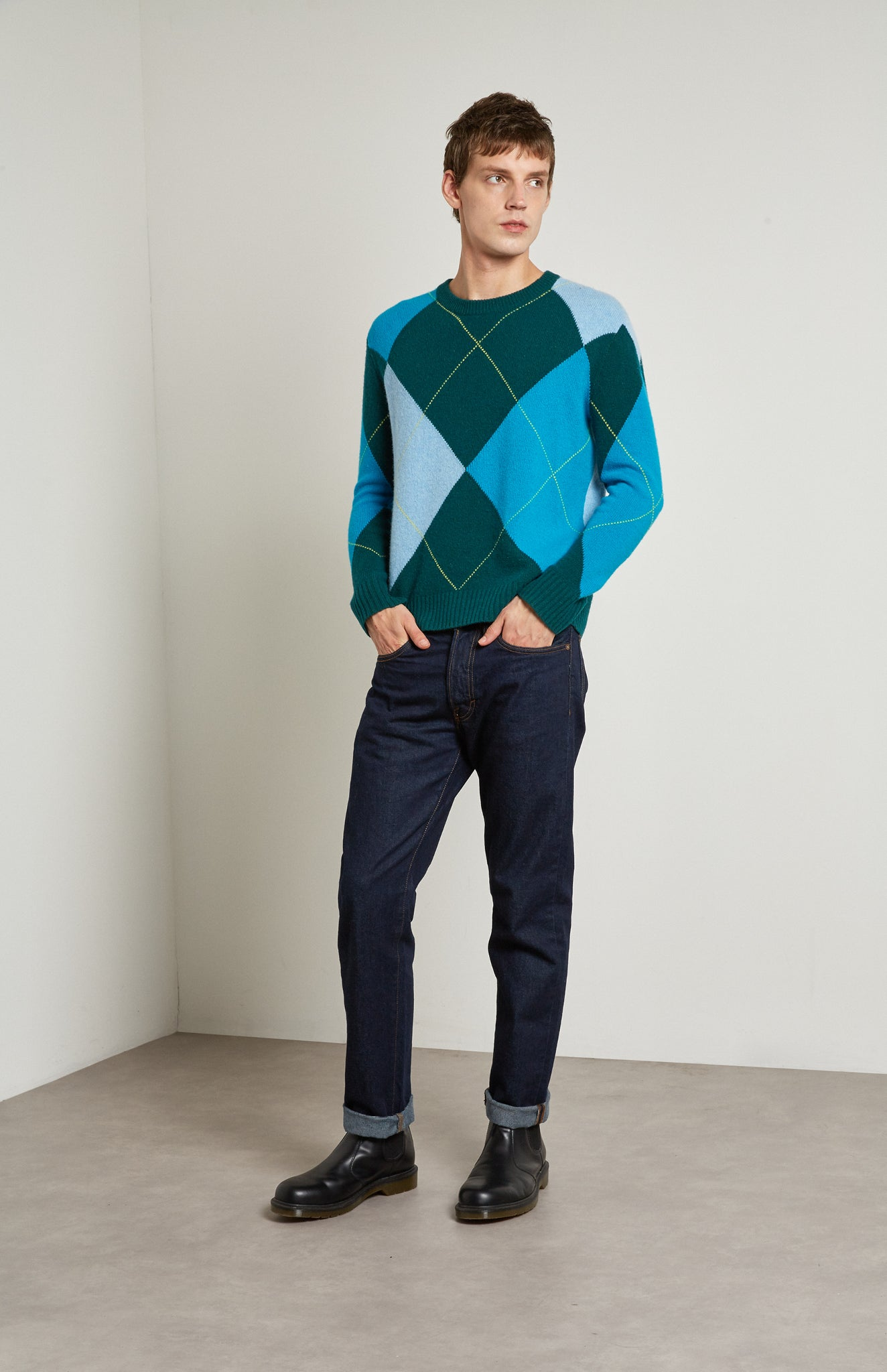 Pringle Reissued Unisex Grand Argyle Jumper In Green on male model