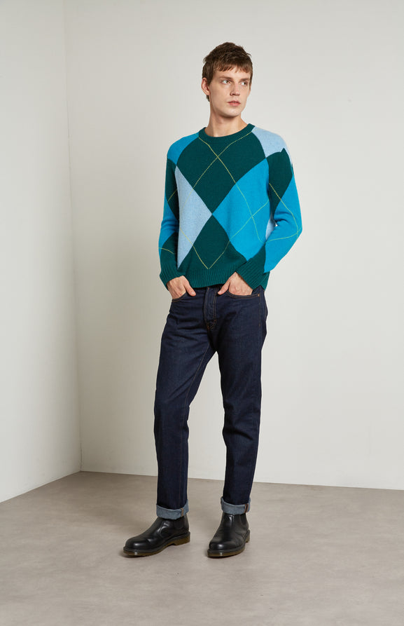 Reissued Grand Argyle Merino Jumper In Green