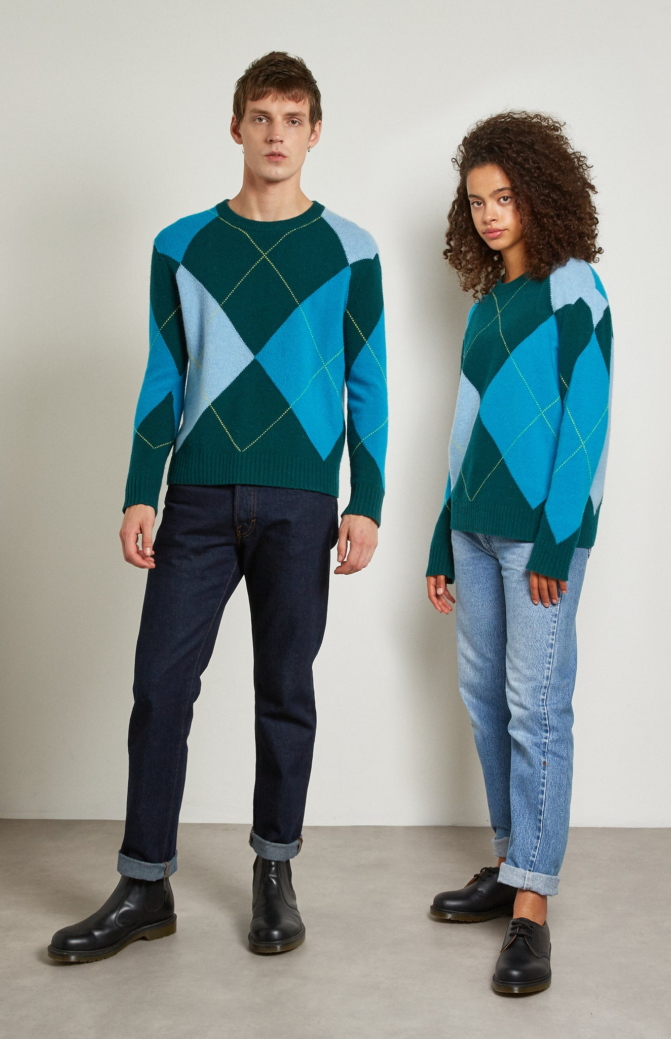 Pringle Reissued Unisex Grand Argyle Jumper In Green on male and female model