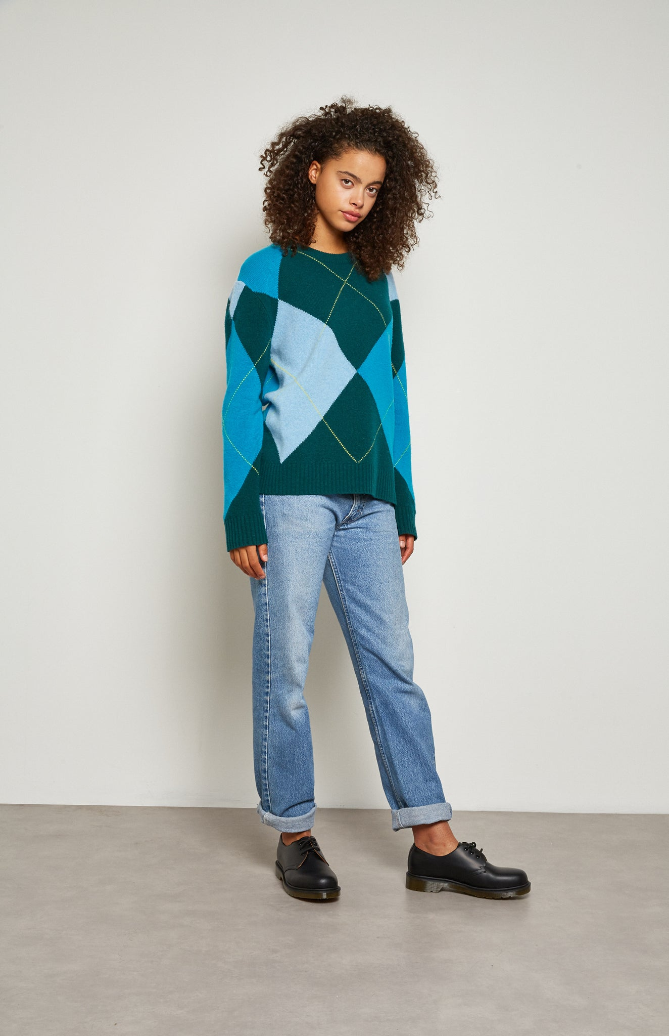 Pringle Reissued Unisex Grand Argyle Jumper In Green on female model