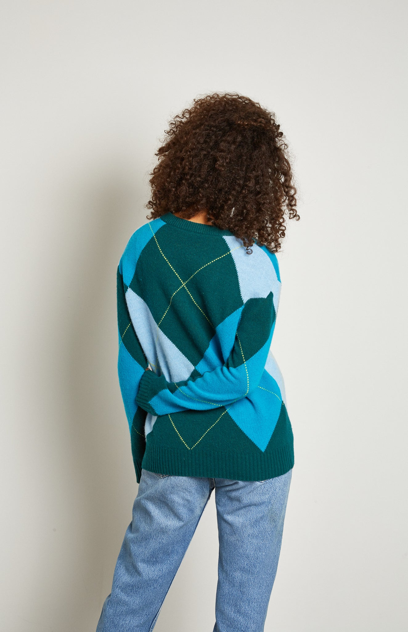 Pringle Reissued Unisex Grand Argyle Jumper In Green on female model back shot