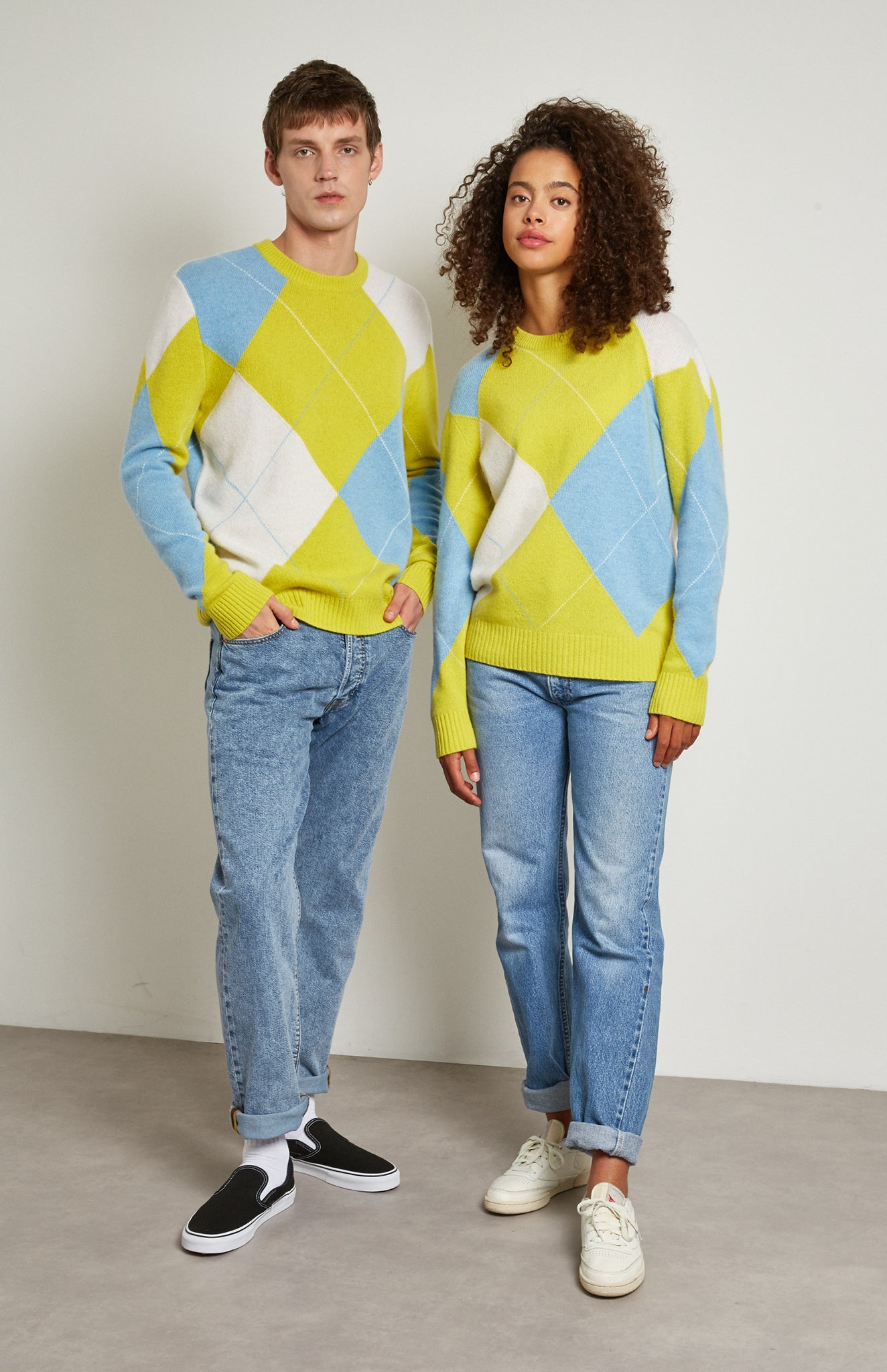 Pringle Reissued Unisex Grand Argyle Jumper In Lime on male and female model
