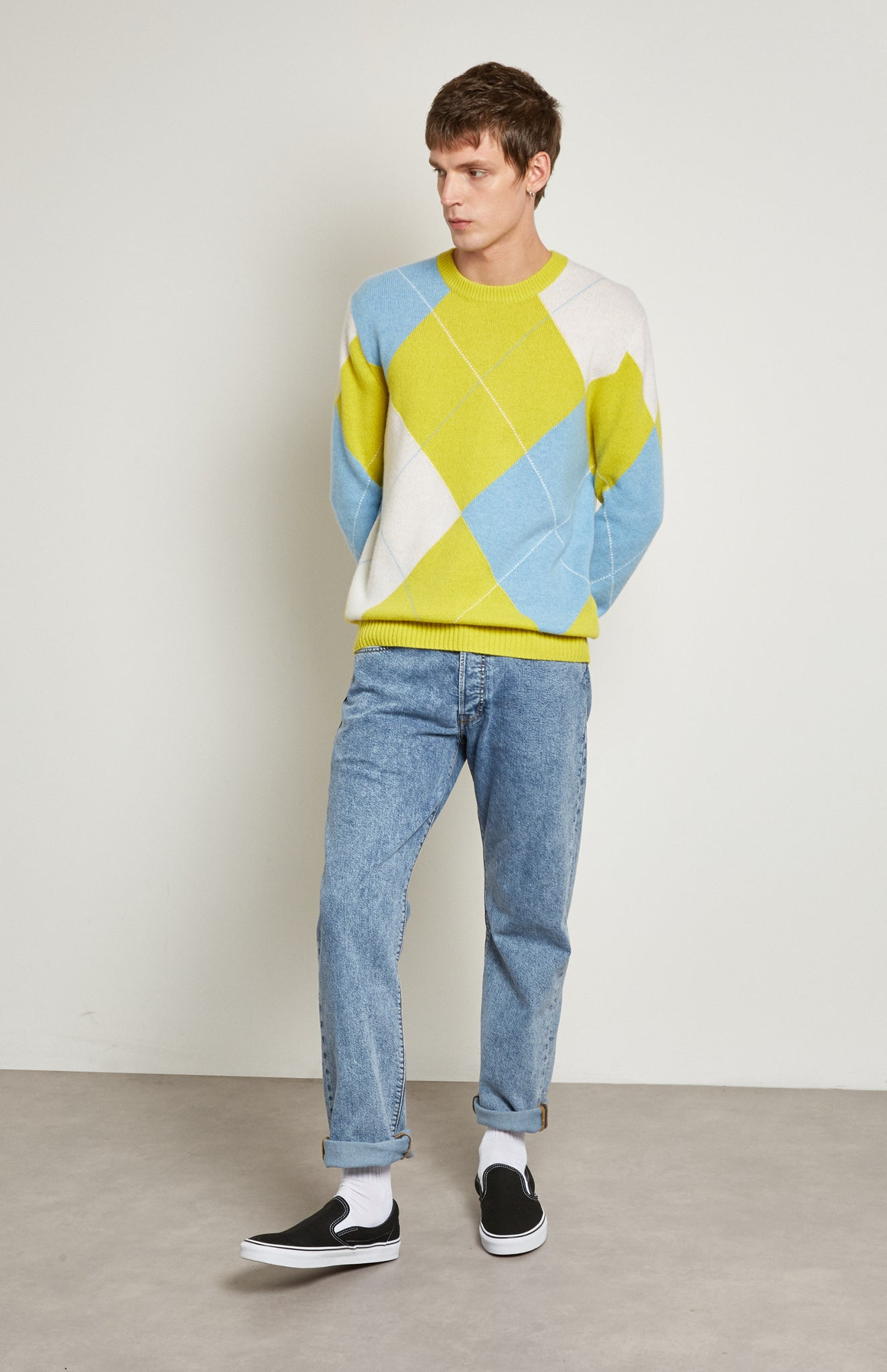 Pringle Reissued Unisex Grand Argyle Jumper In Lime on male model