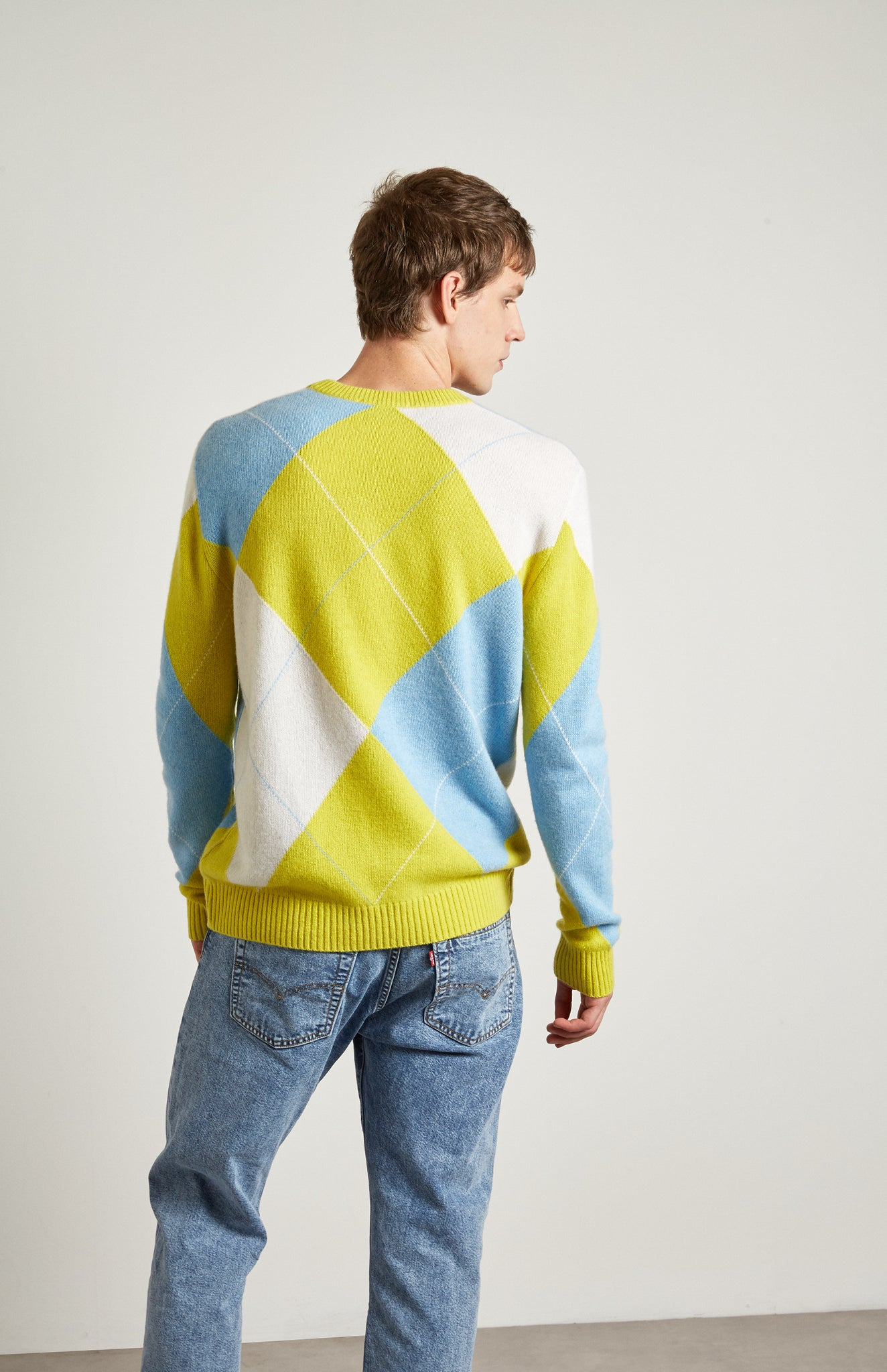 Pringle Reissued Unisex Grand Argyle Jumper In Lime on male model back shot
