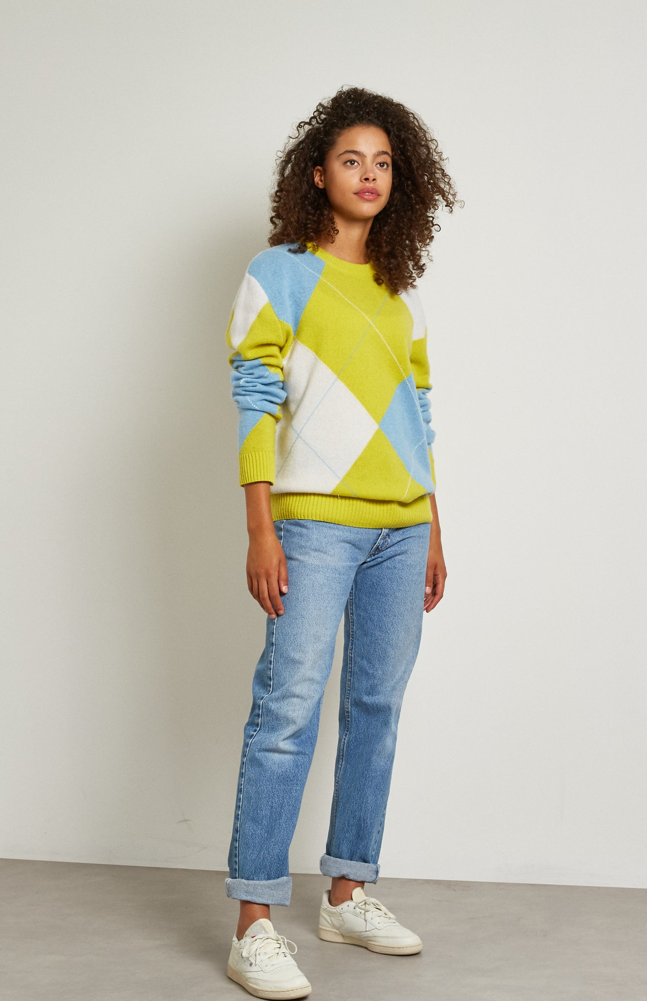 Pringle Reissued Unisex Grand Argyle Jumper In Lime on female model