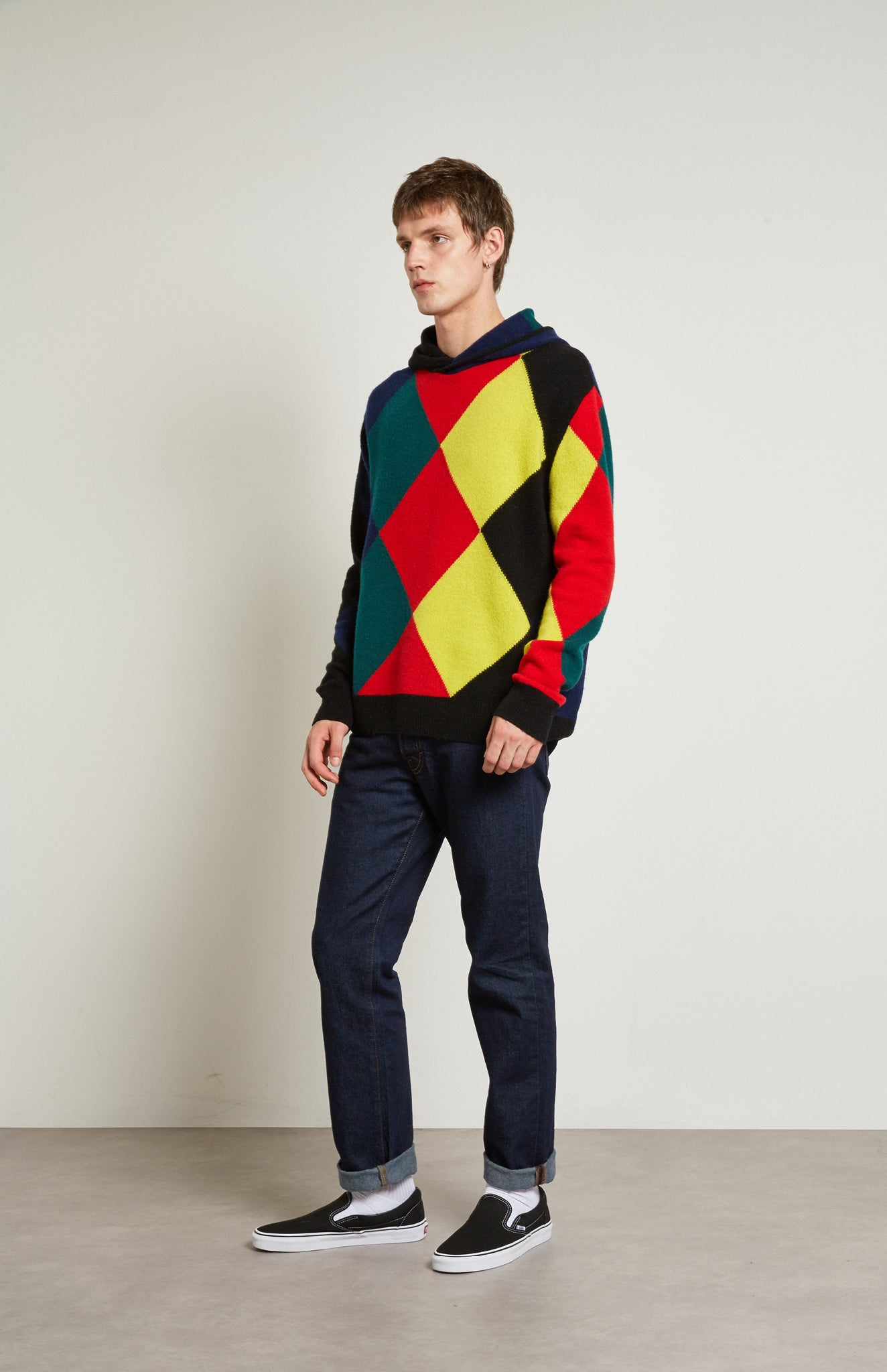 Pringle Reissued Unisex Harlequin Argyle Hoodie on male model