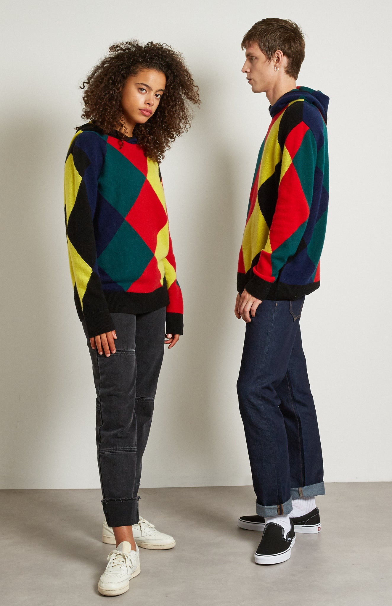 Pringle Reissued Unisex Harlequin Argyle Hoodie on female and male model
