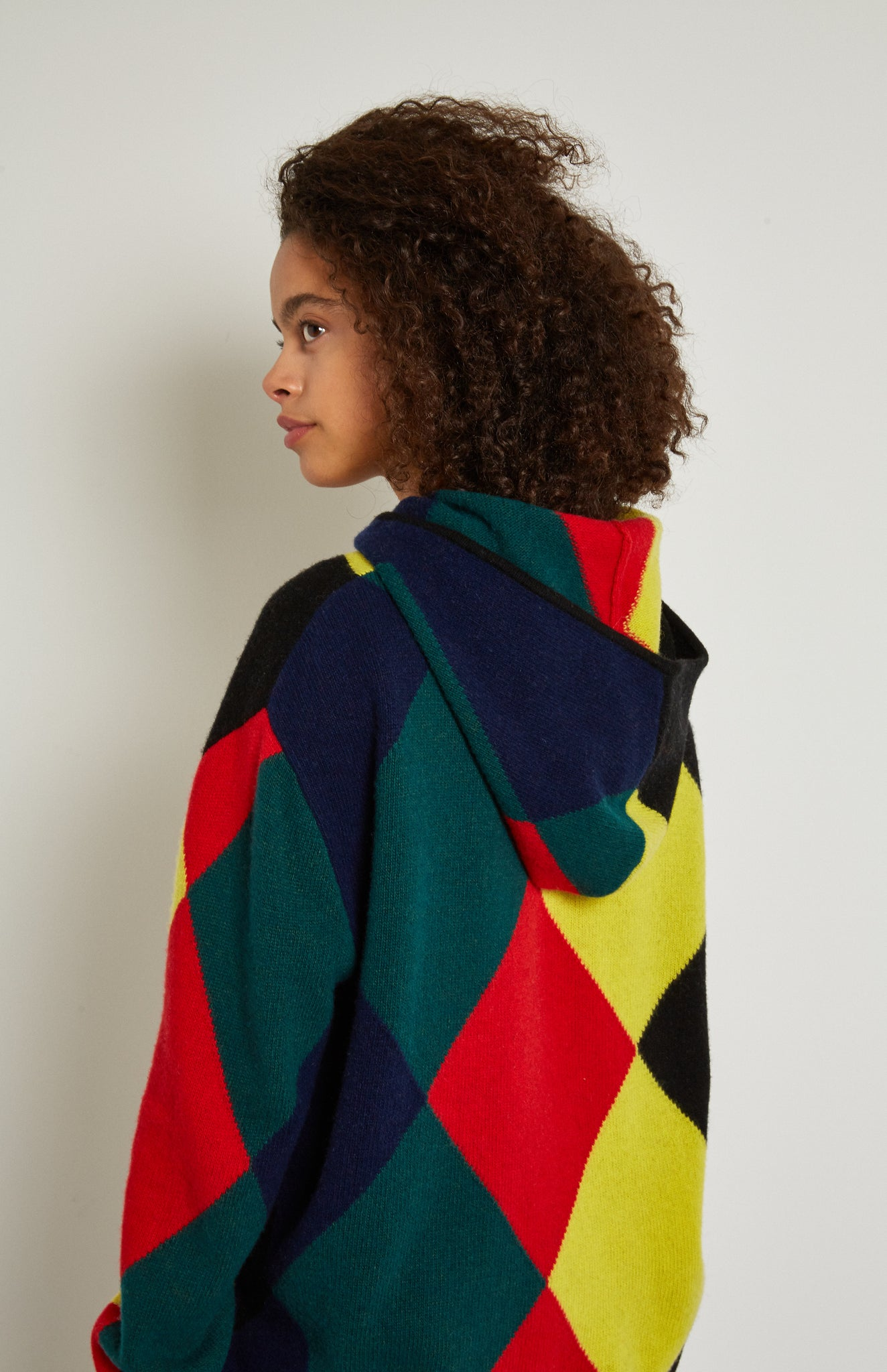 Pringle Reissued Unisex Harlequin Argyle Hoodie backshot on female