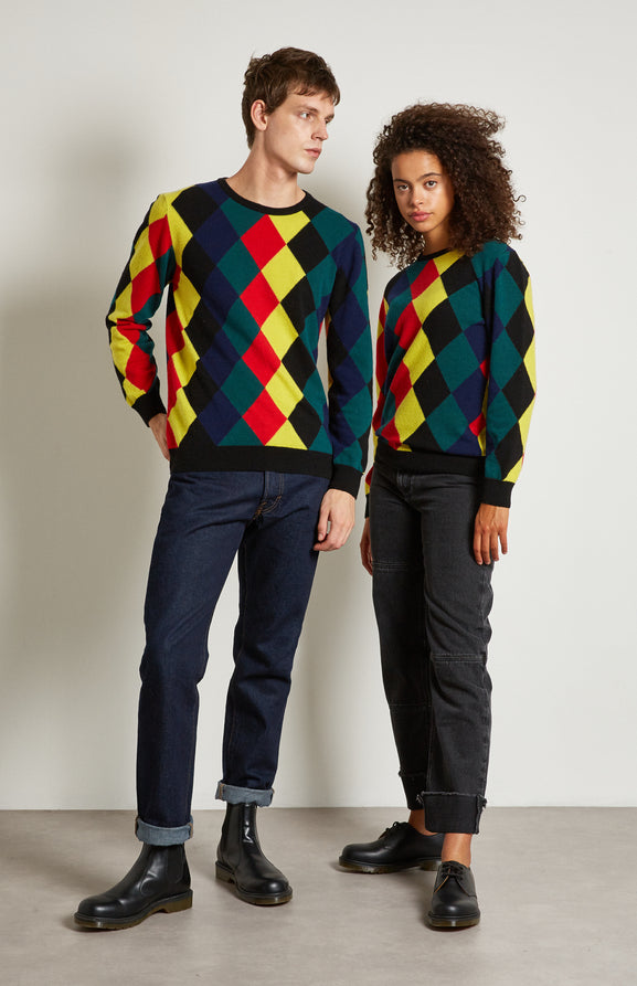Reissued Harlequin Argyle Merino Jumper In Multi