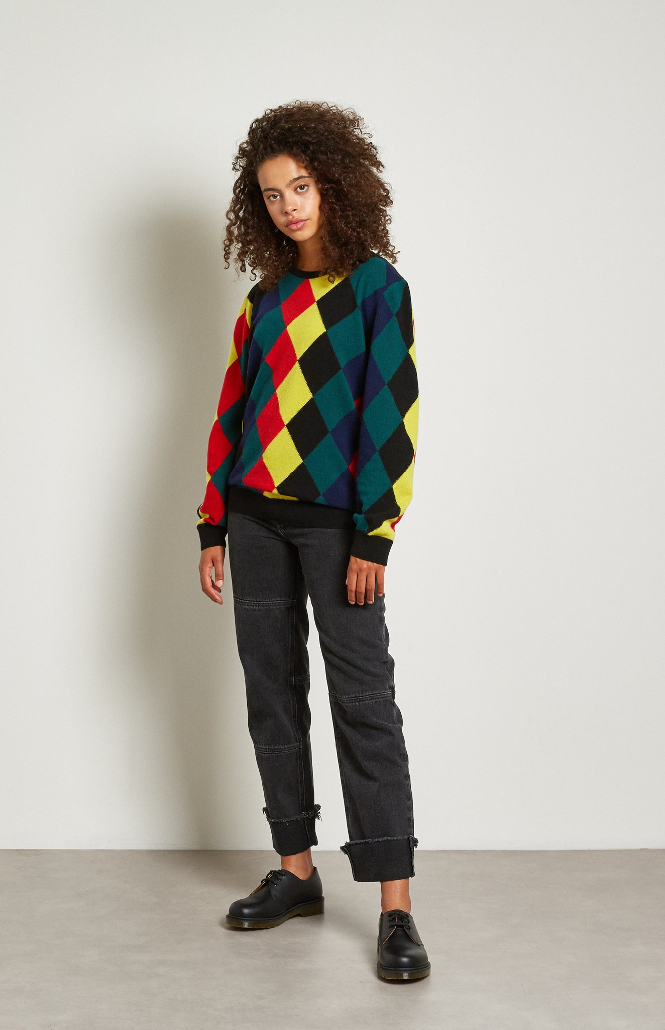 Pringle Reissued Unisex Harlequin Argyle Sweater in multi colours on women's model