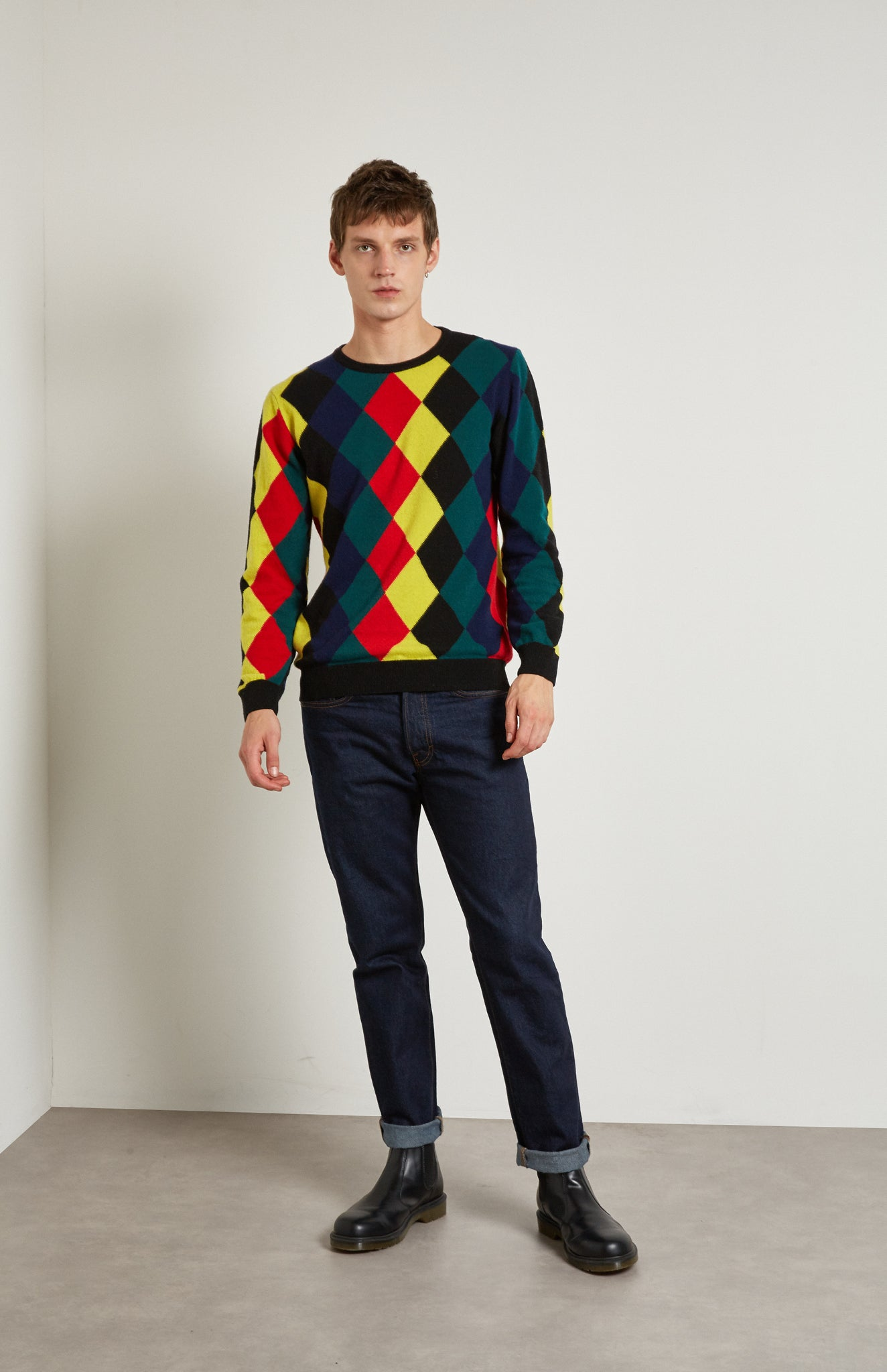Pringle Reissued Unisex Harlequin Argyle Sweater in multi colours on men's model