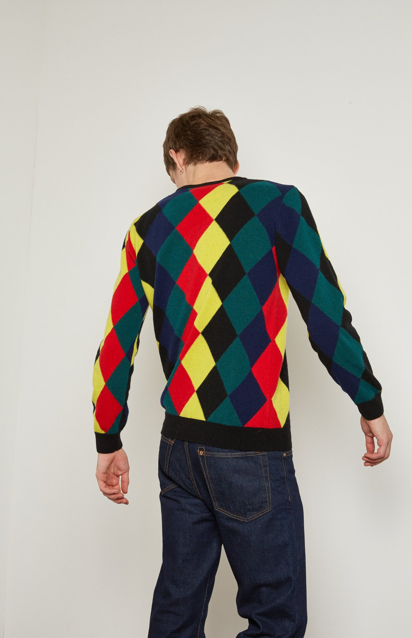 Pringle Reissued Unisex Harlequin Argyle Sweater in multi colours on men's model back