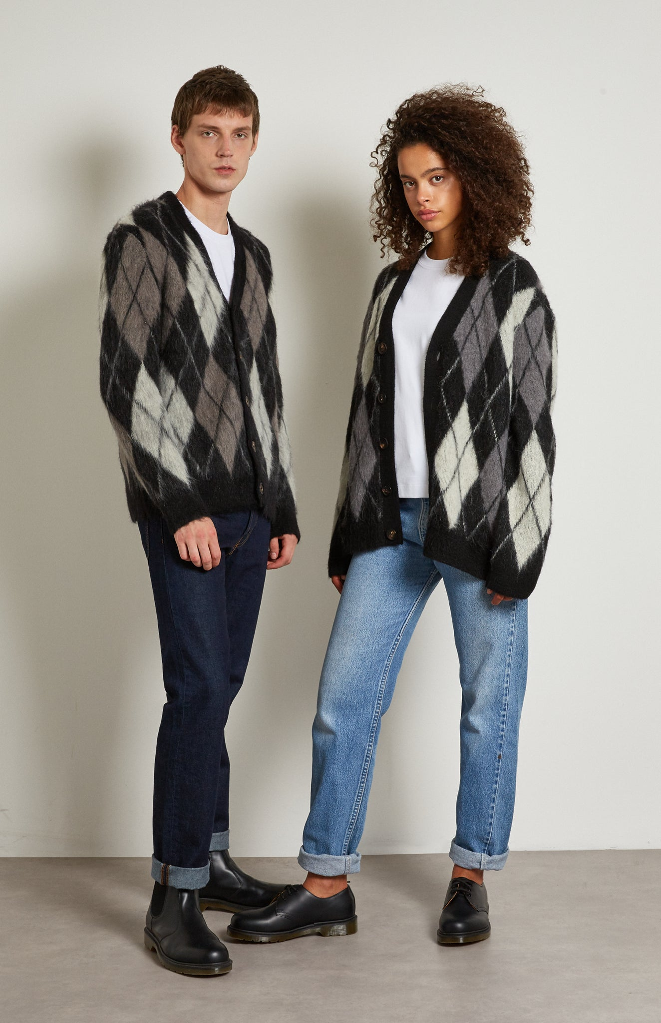 Pringle Reissued Unisex Monochrome Argyle Cardigan on male and female model