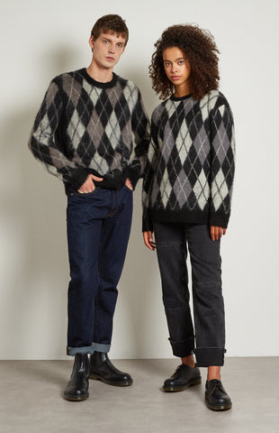 Pringle Reissued Unisex Monochrome Argyle Jumper on male and female model