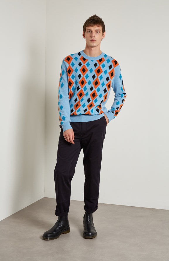 Reissued Diamond Argyle Merino Jumper In Blue