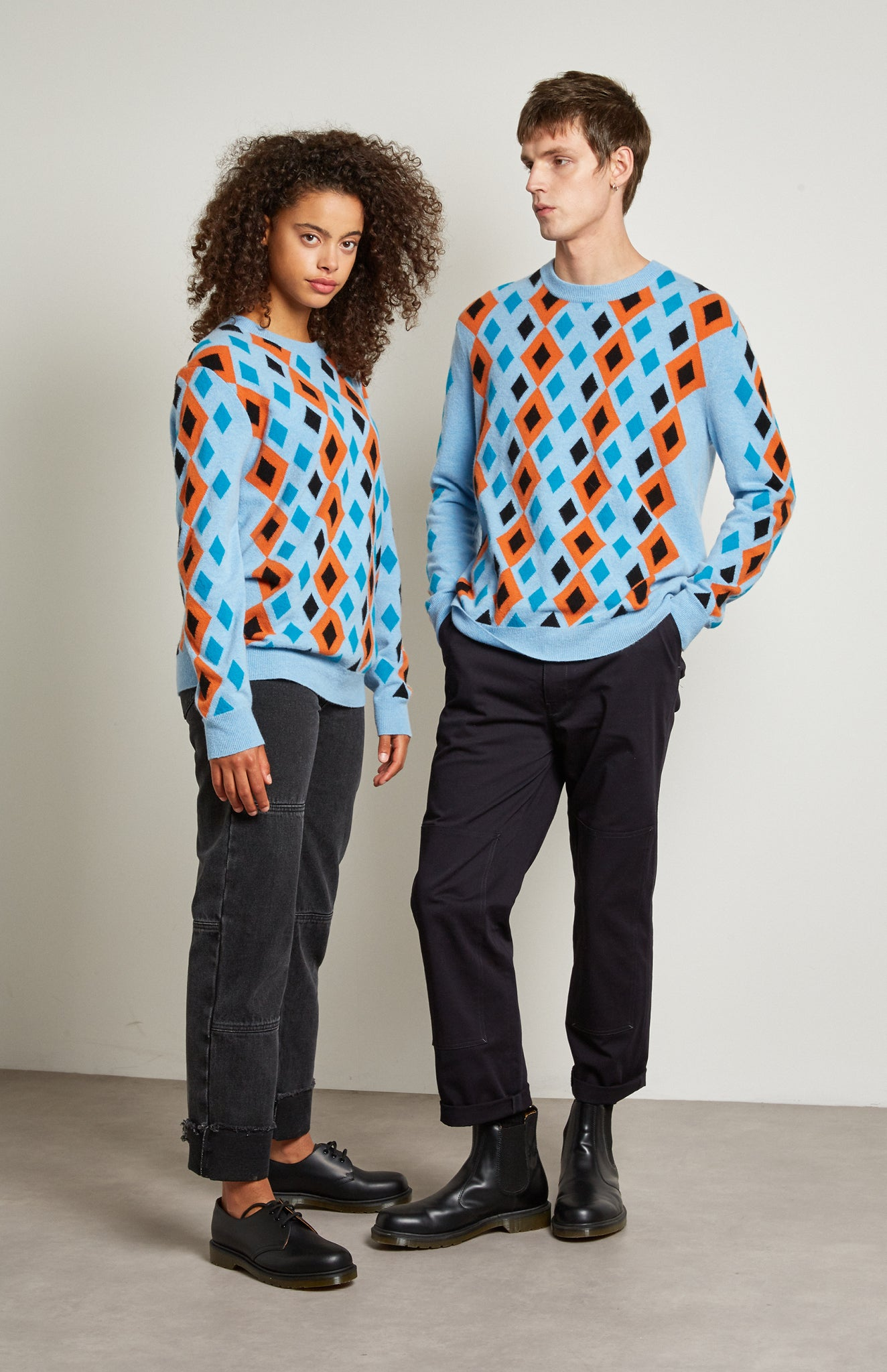 Pringle Reissued Unisex Multi Diamond Argyle Jumper In Light Blue on male and female model