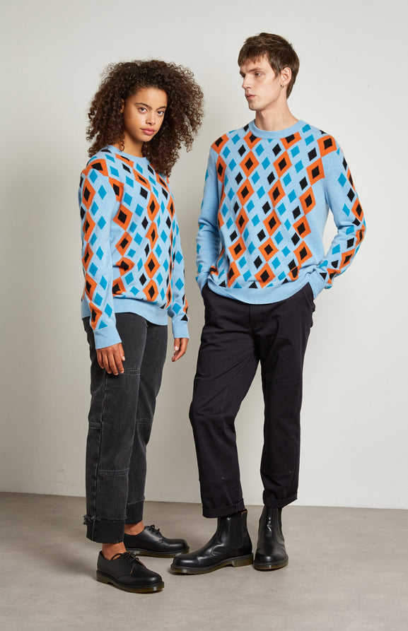 Multi Diamond Argyle Jumper In Light Blue