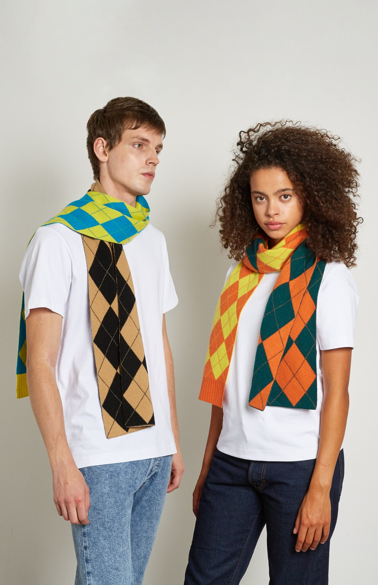 Pringle Reissued Patched Argyle Scarf In Green/Orange on models
