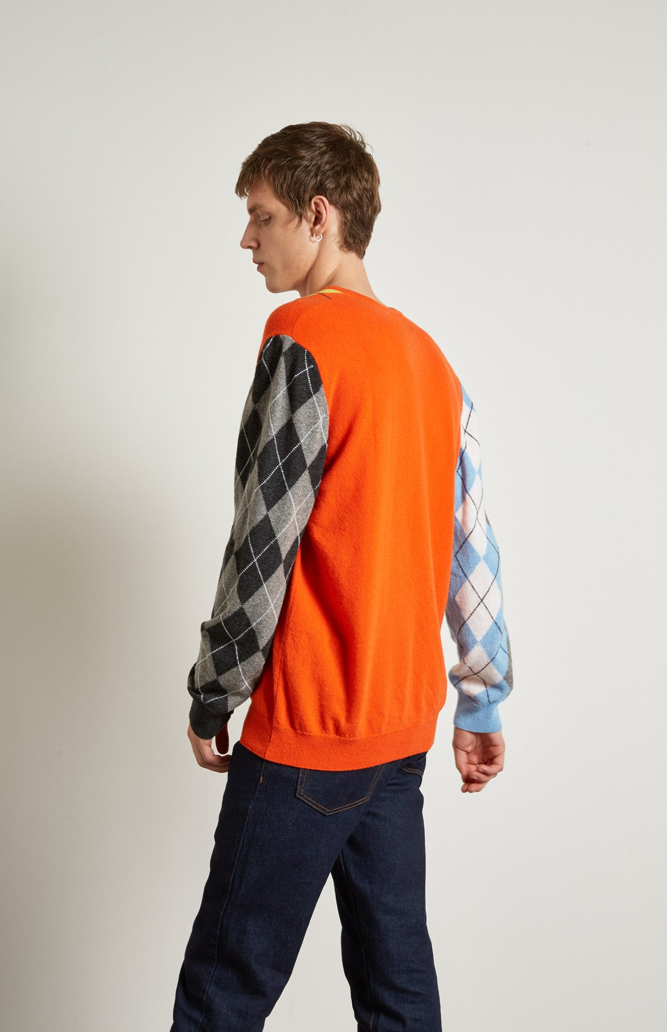 Pringle Reissued Unisex Patchwork Argyle Jumper on male model back shot