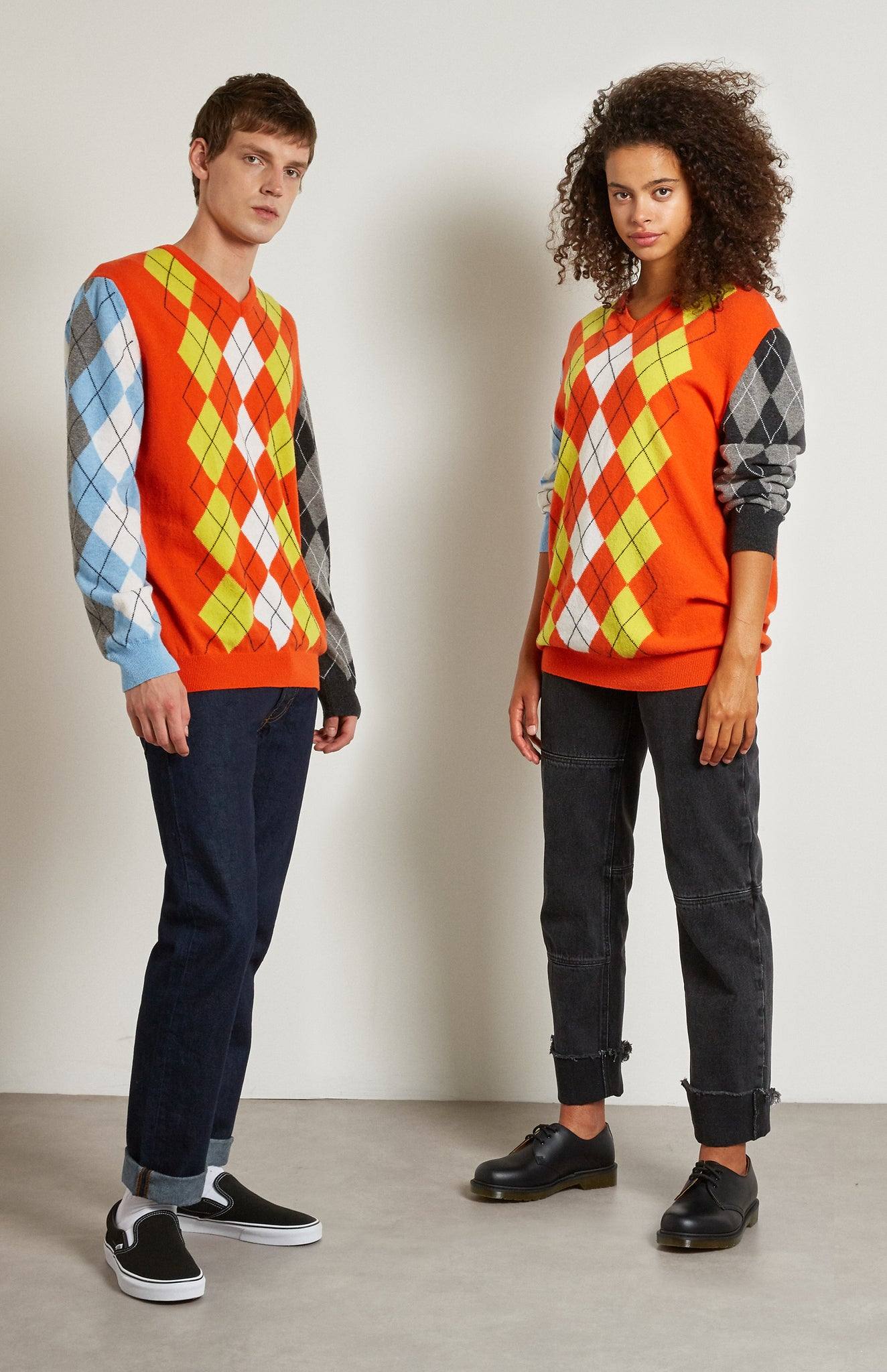 Pringle Reissued Unisex Patchwork Argyle Jumper on male and female model