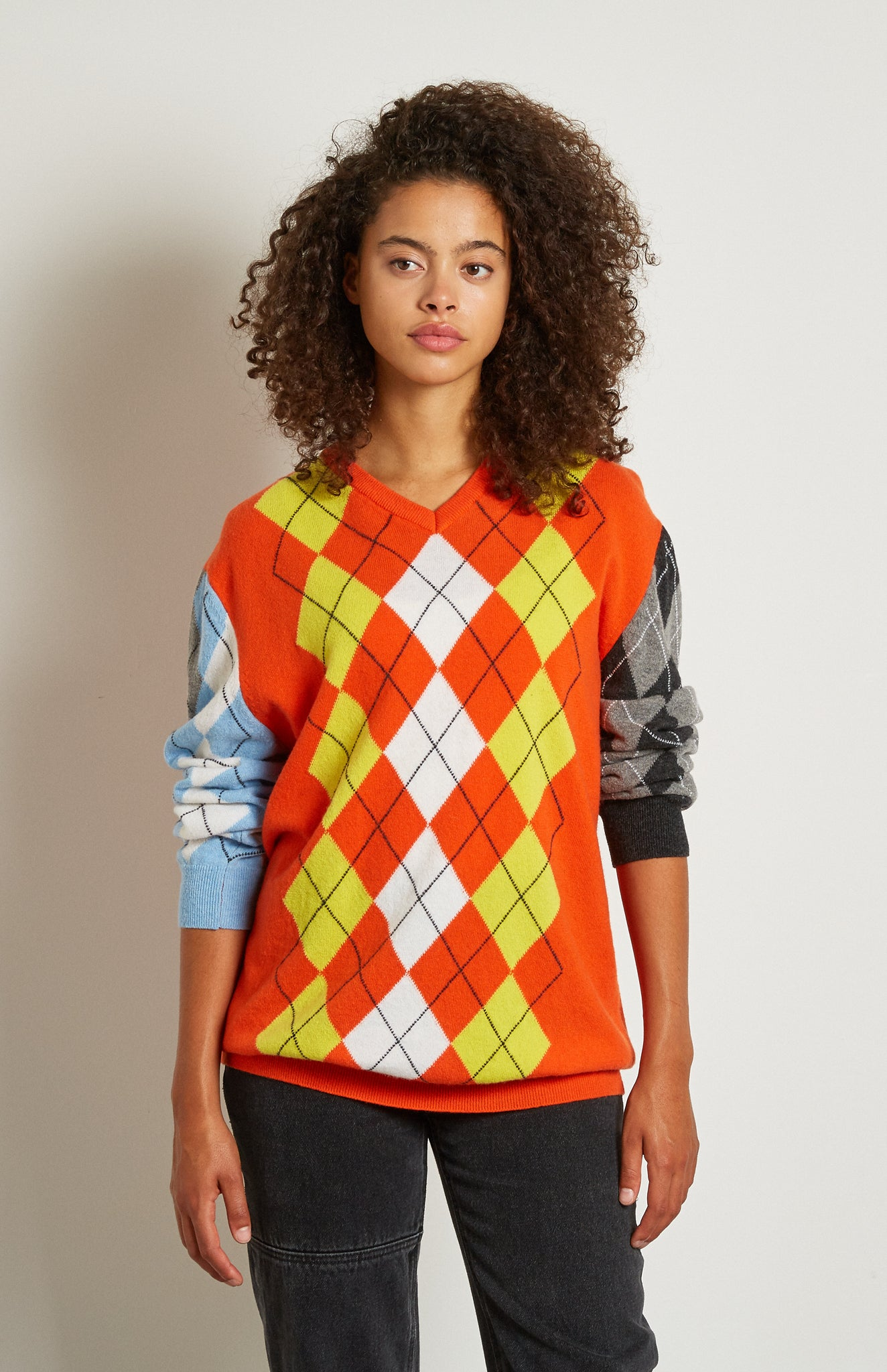 Pringle Reissued Unisex Patchwork Argyle Jumper on female model