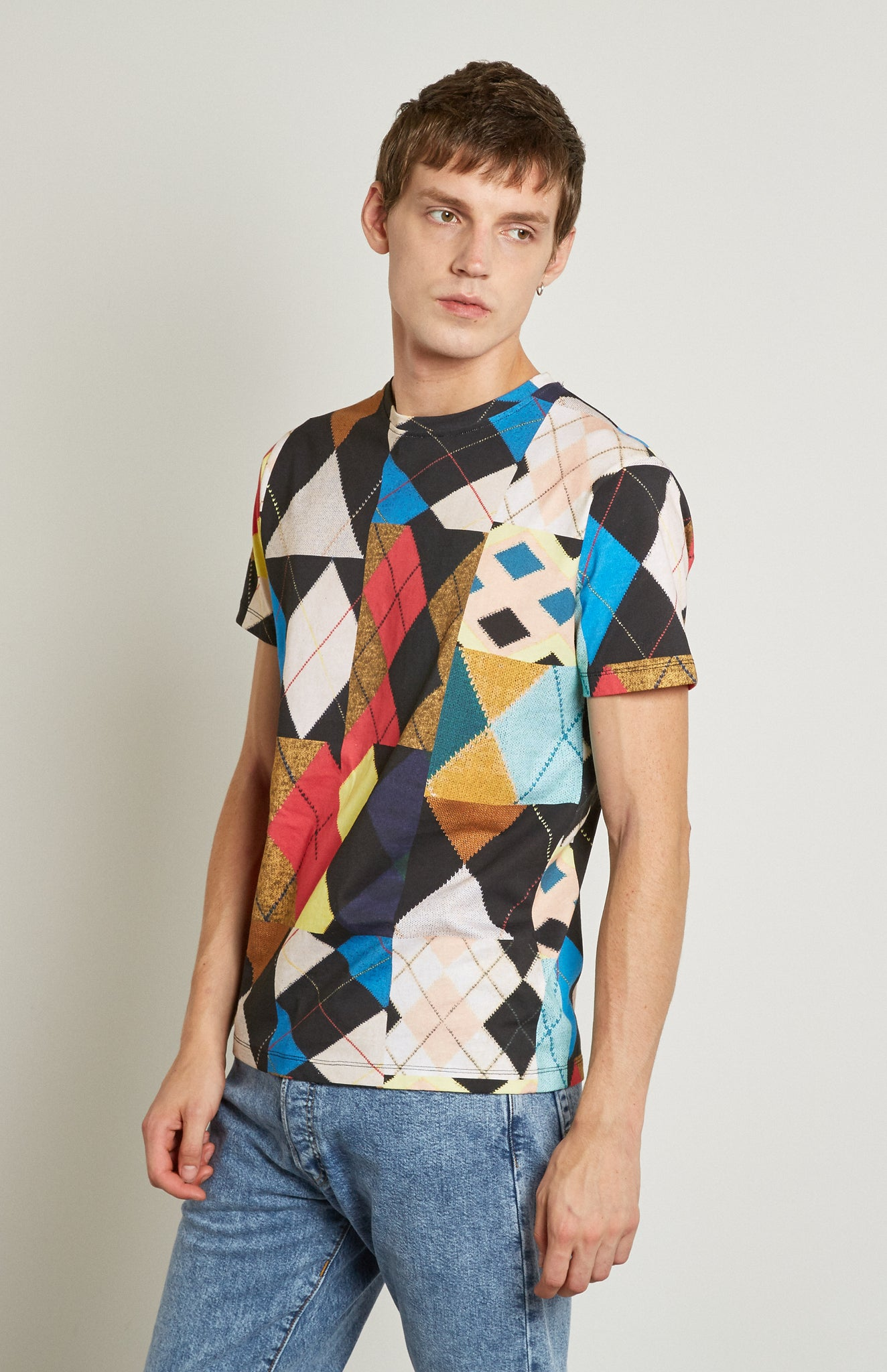 Pringle Reissued Unisex Patchwork Argyle Tee on male model