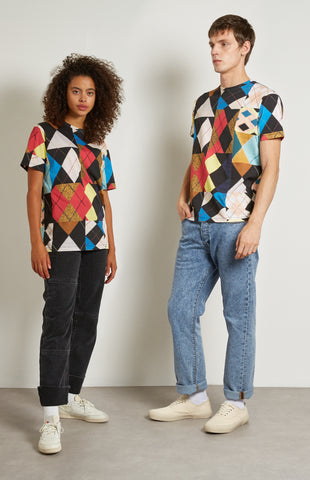 Pringle Reissued Unisex Patchwork Argyle Tee on male and female model