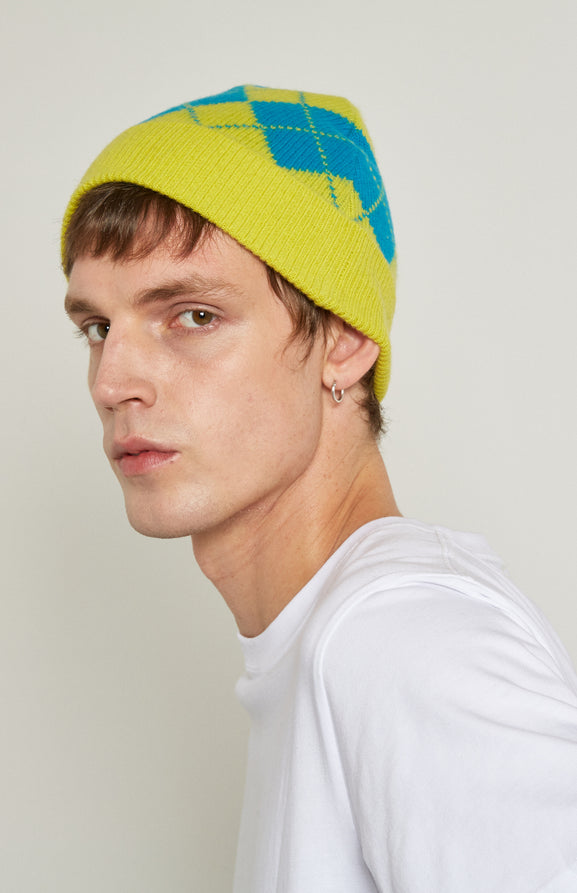 Two Tone Argyle Beanie Hat In Lime