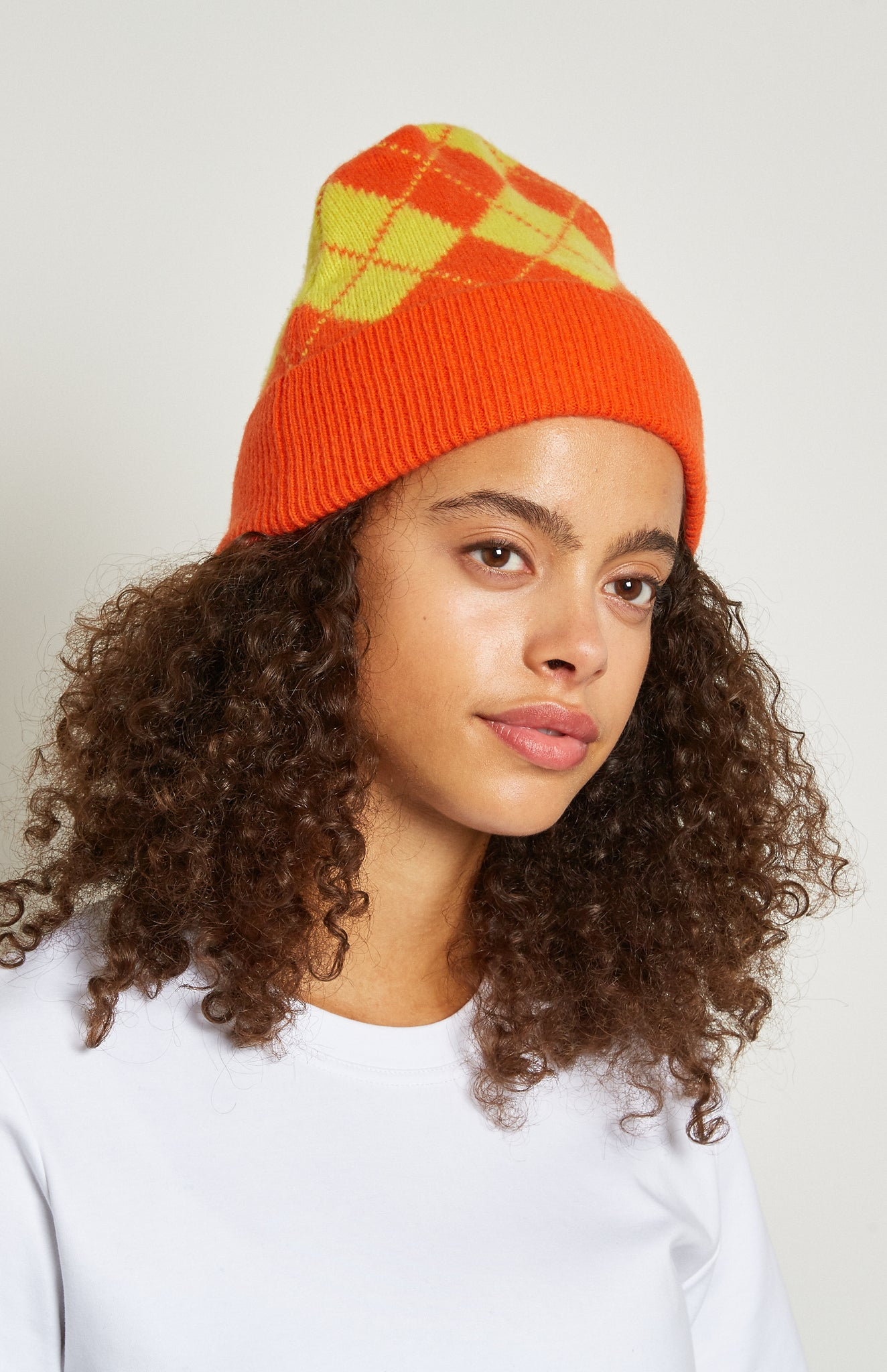 Pringle Reissued Unisex Two Tone Argyle Beanie Hat In ORANGE