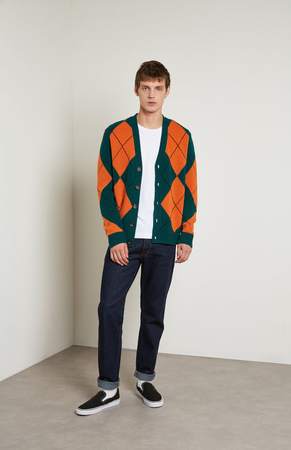 Reissued Argyle Merino Cardigan in Green/Orange
