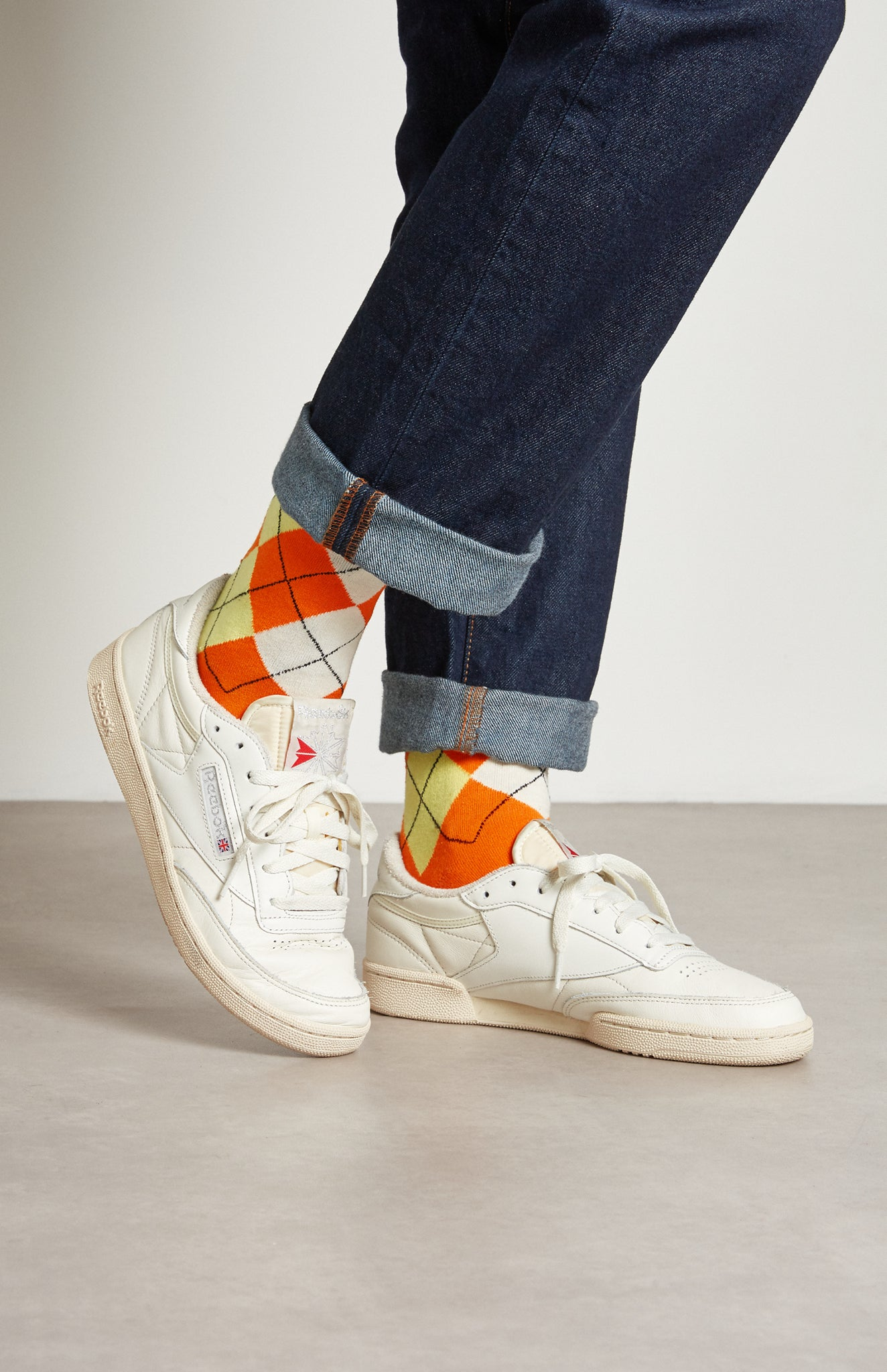 Pringle Reissued Women's Argyle Socks In Multi Orange