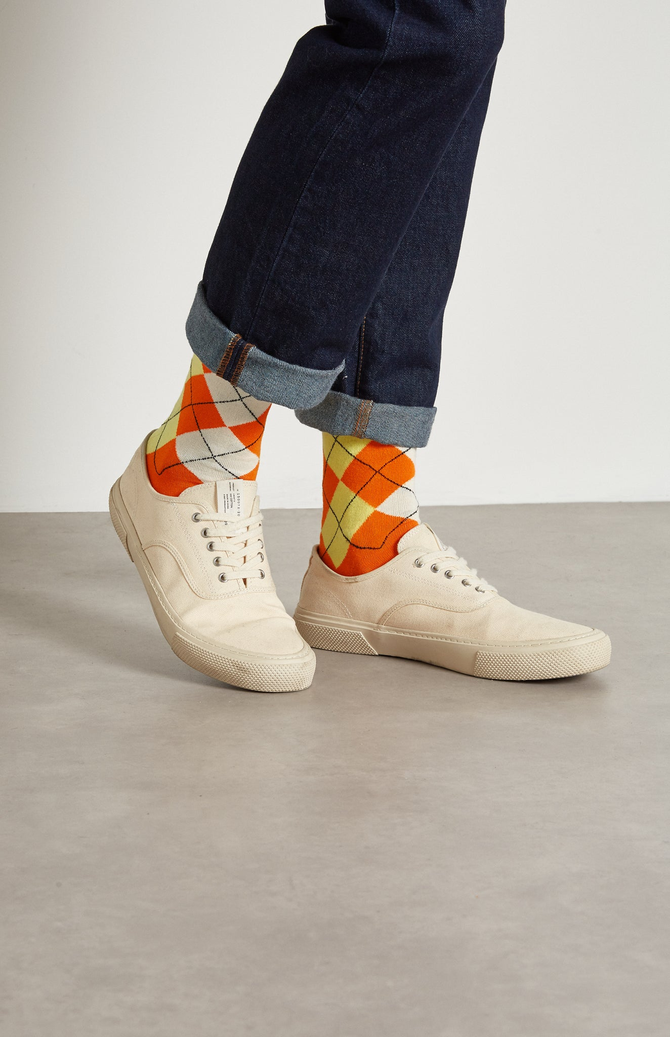 Pringle reissued Men's Classic Argyle Socks In Multi Orange