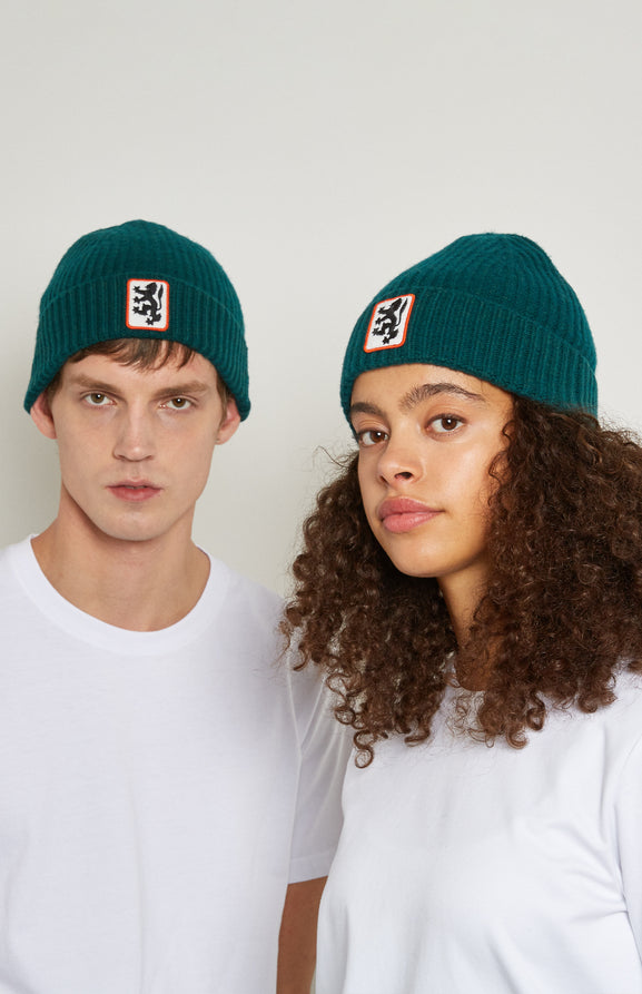Lion Badge Beanie In Dark Green