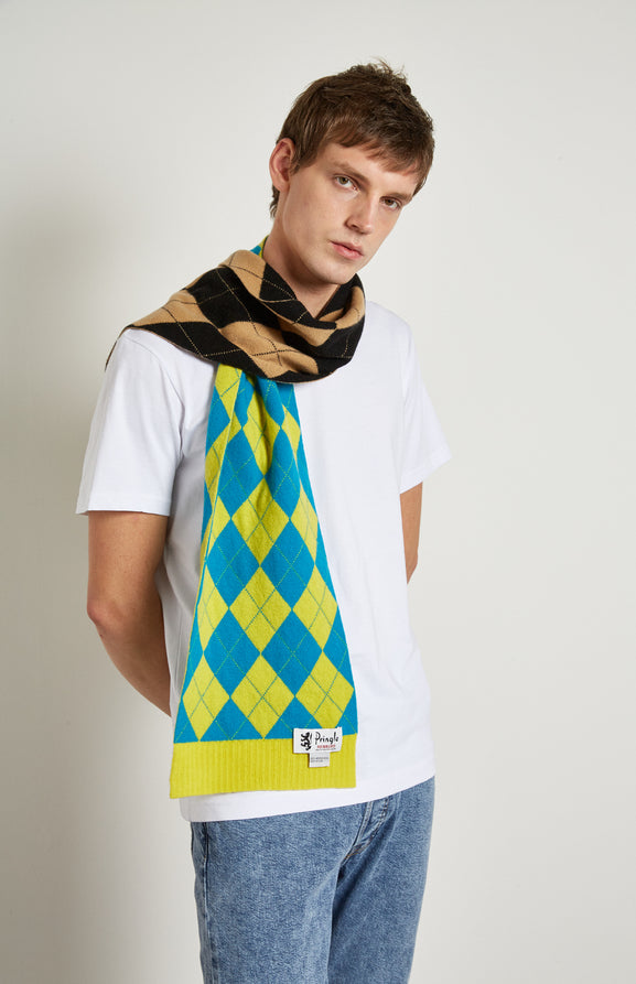 Patched Argyle Scarf In Black/Camel