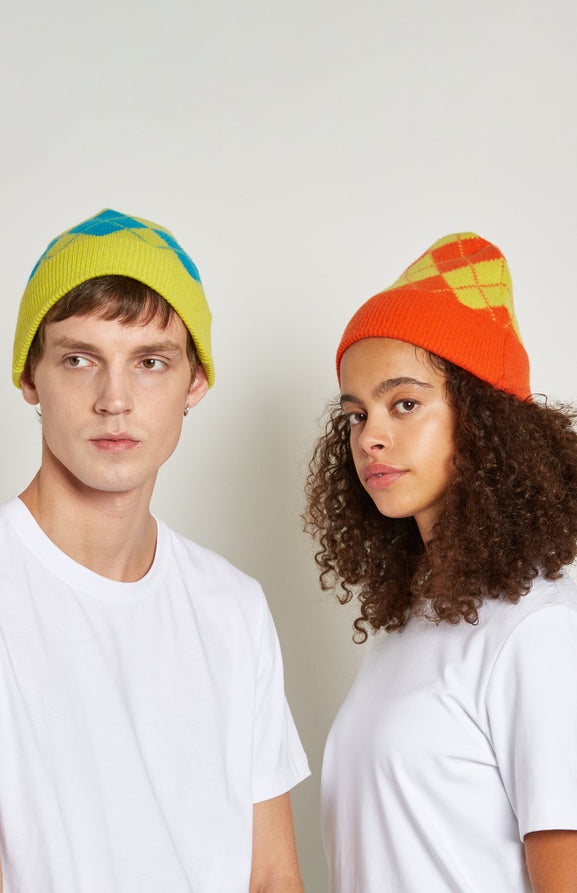 Two Tone Argyle Beanie Hat In Orange