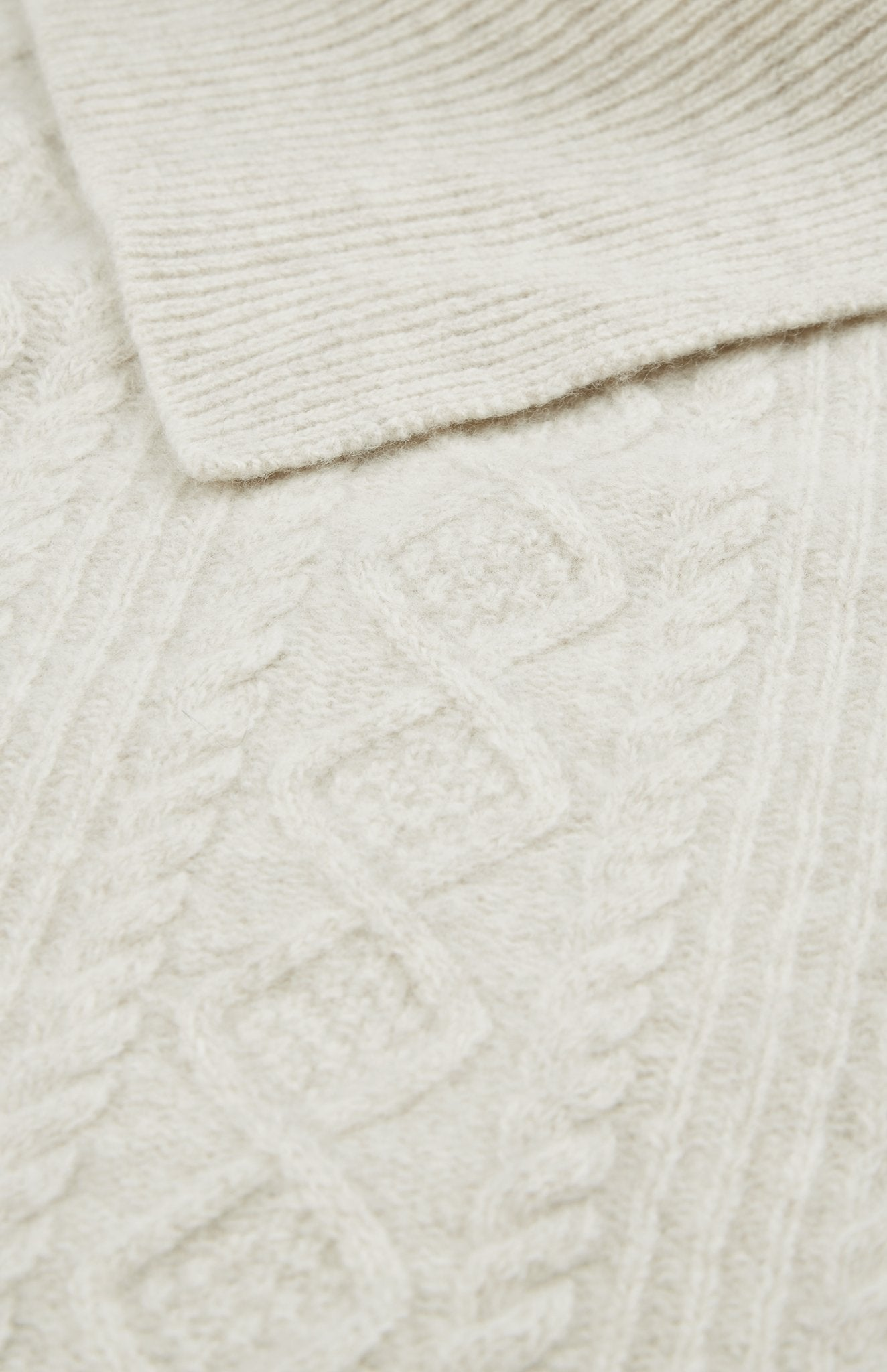 Roll Neck Cable Stitch Jumper in Oatmeal