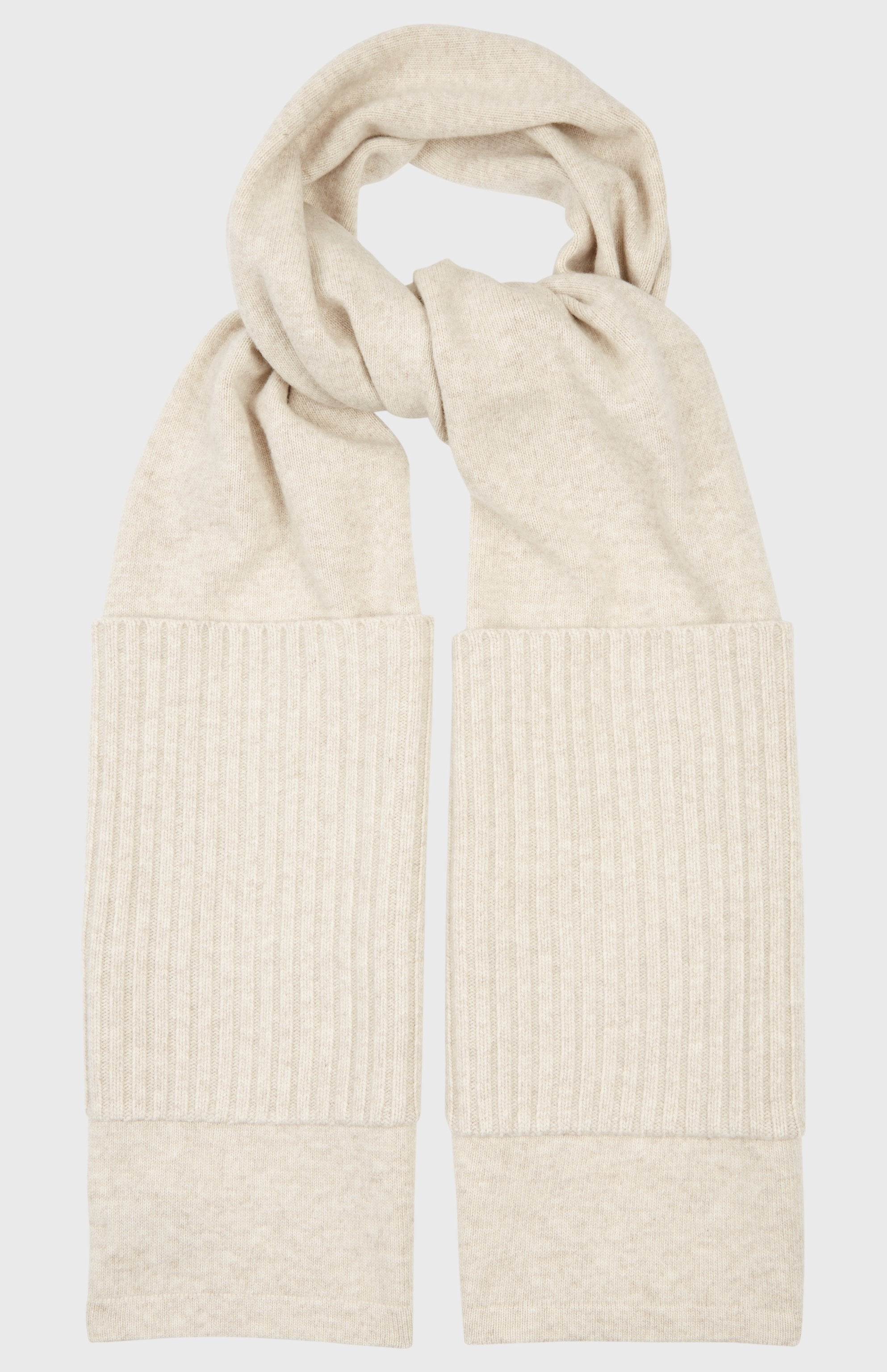 Ribbed Pocket Scarf In Oatmeal