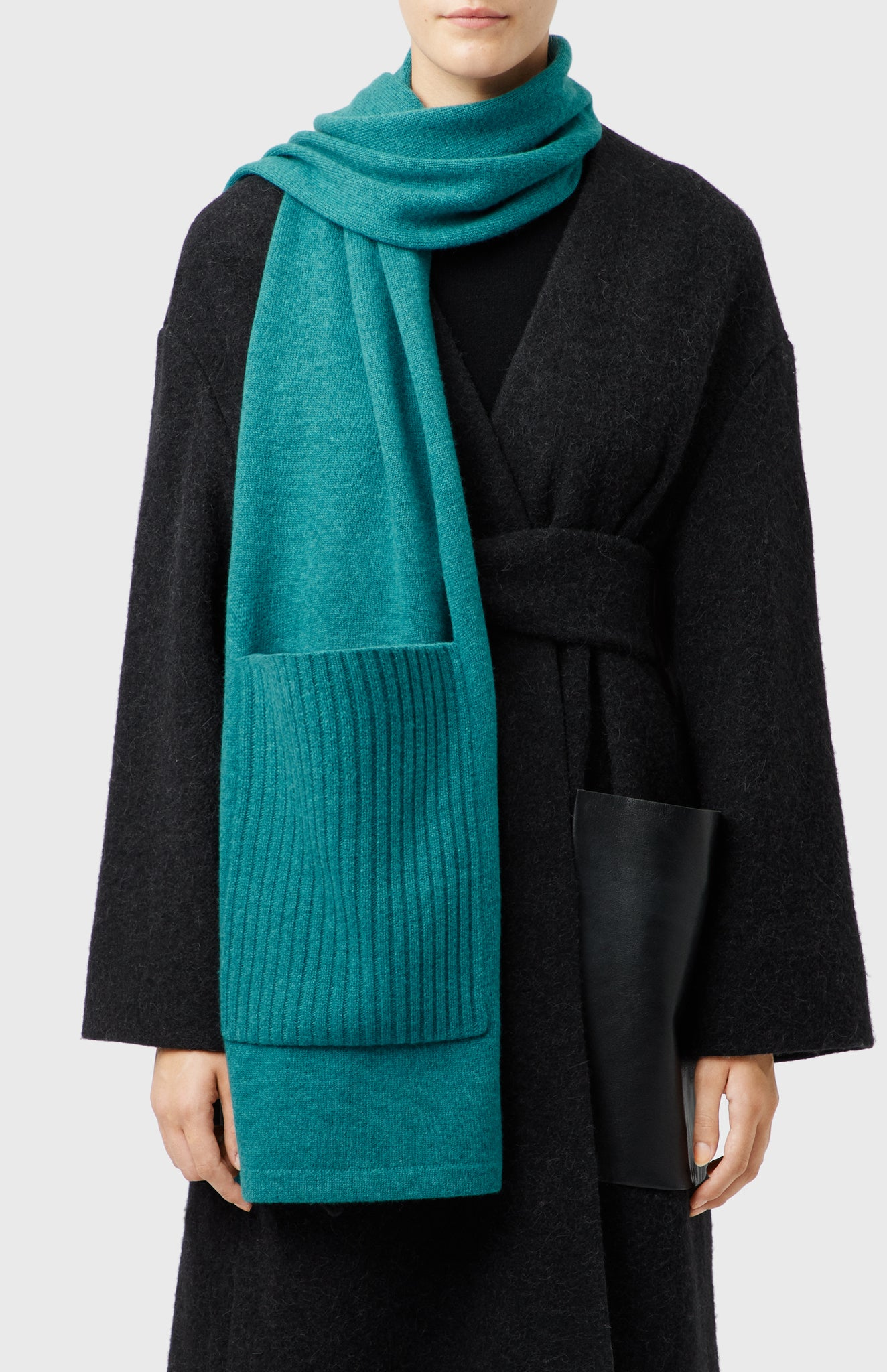 Ribbed Pocket Scarf In Teal Melange