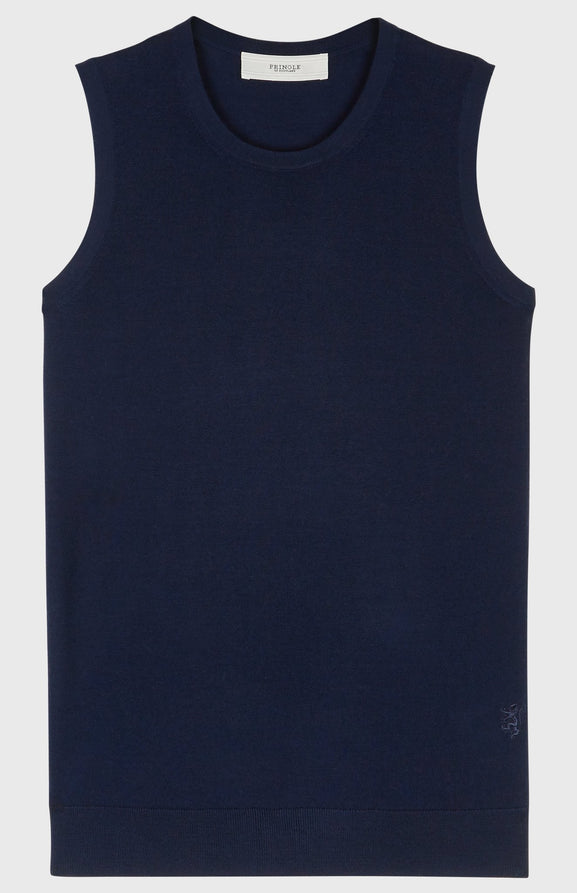 Sleeveless Merino Wool Jumper in Navy