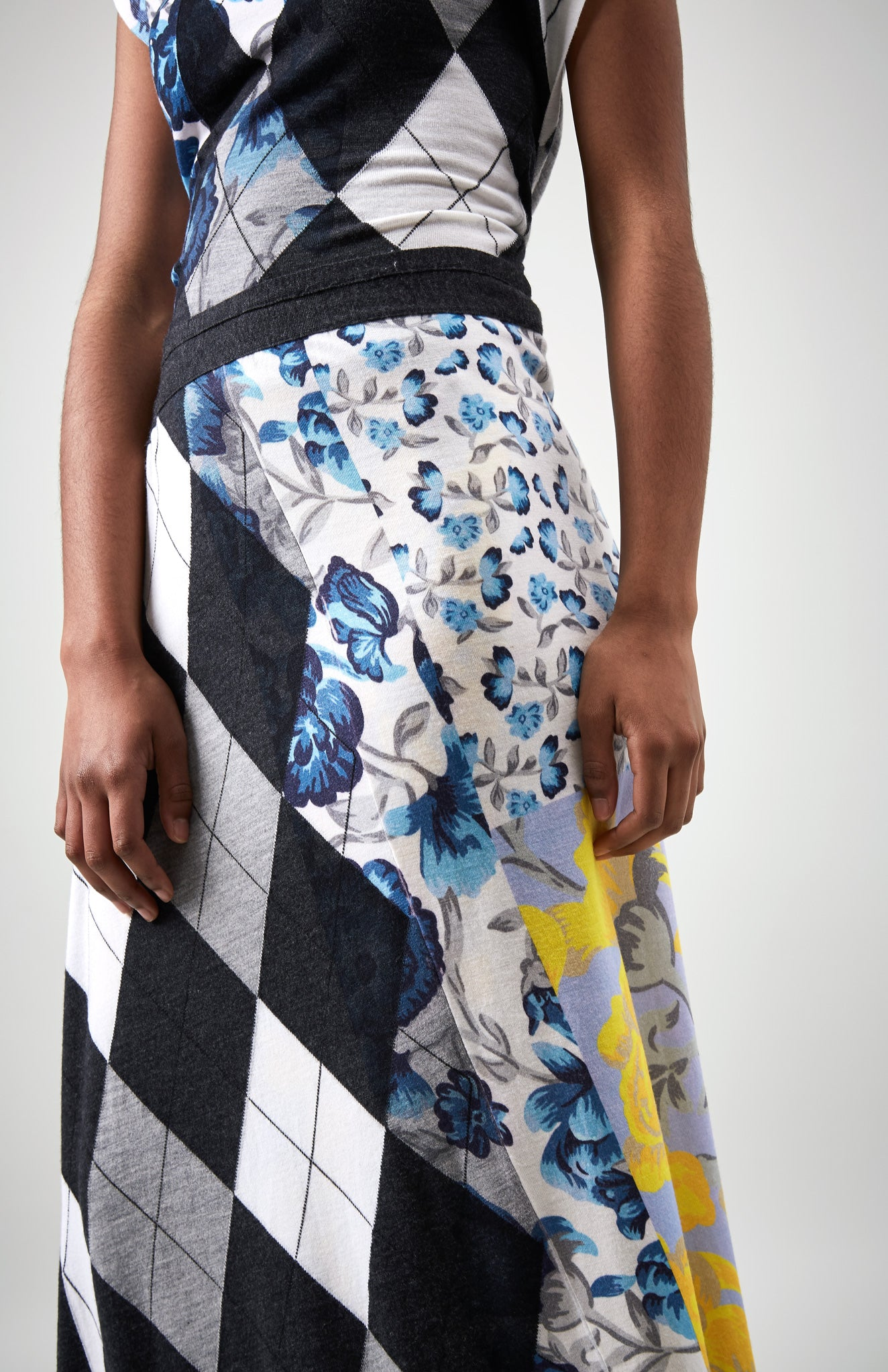 Patchwork Floral Wrap Skirt