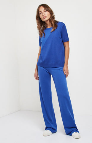 Drawstring Merino Trousers In Bright Blue