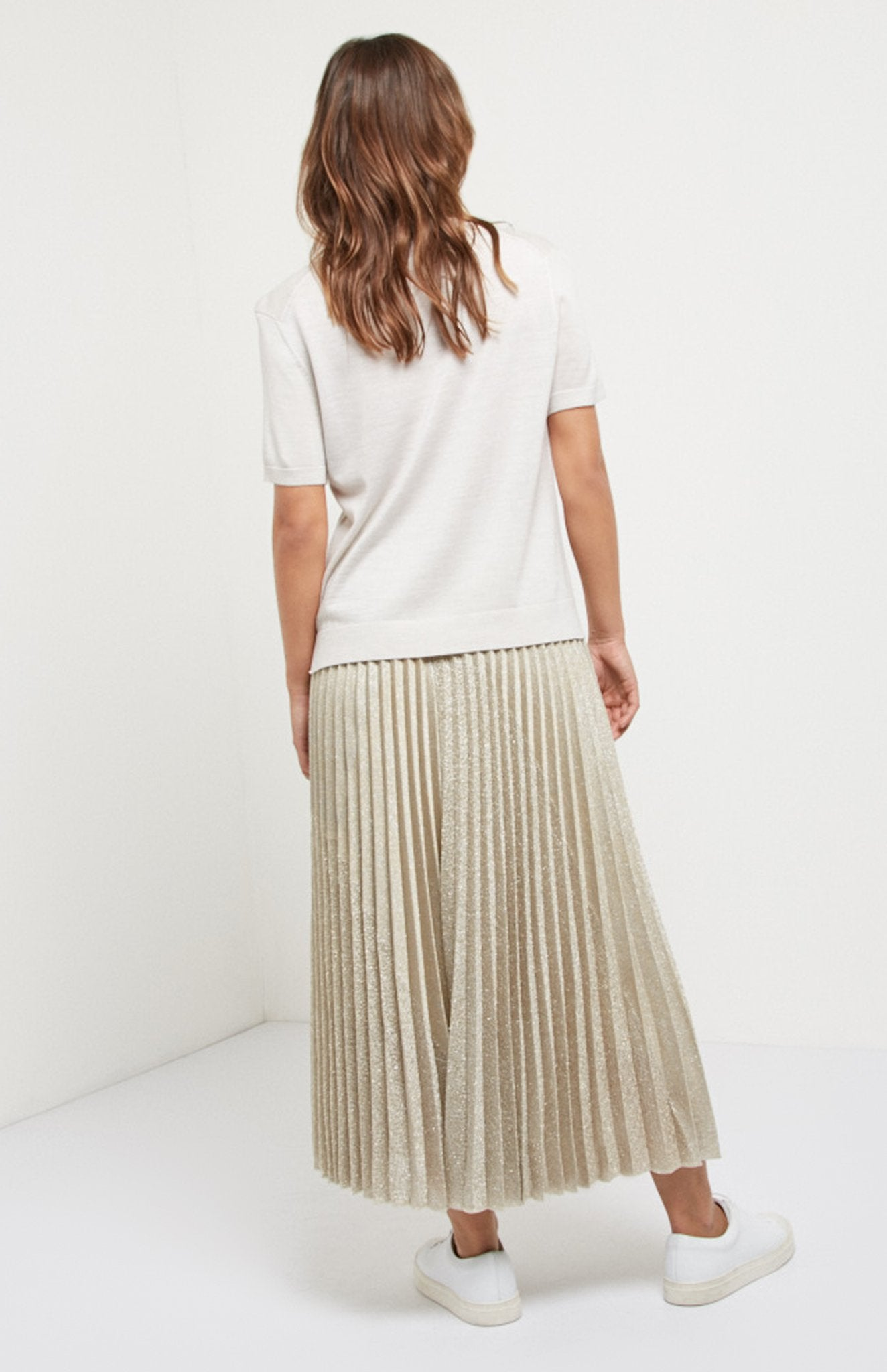 Lurex Pleated Skirt In Oatmeal