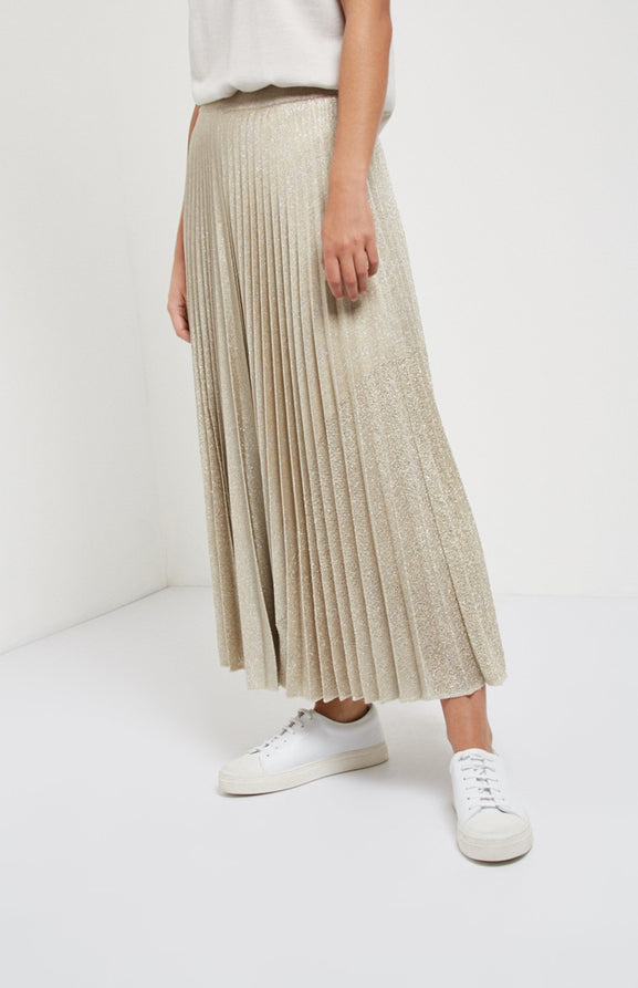 Pleated Lurex Skirt In Beige